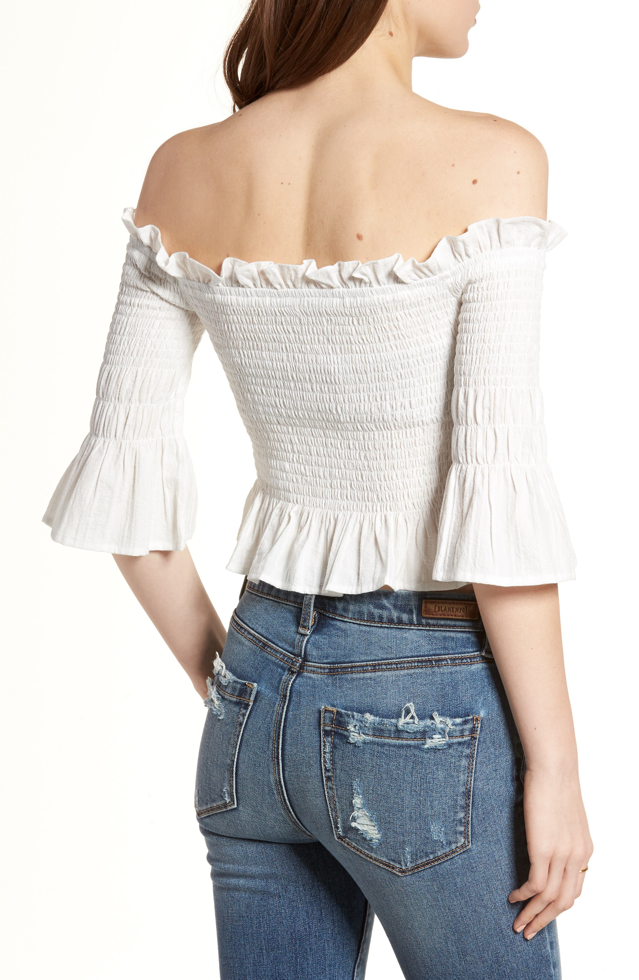 Smocked Off the Shoulder Top,                             Alternate thumbnail 2, color,                             100