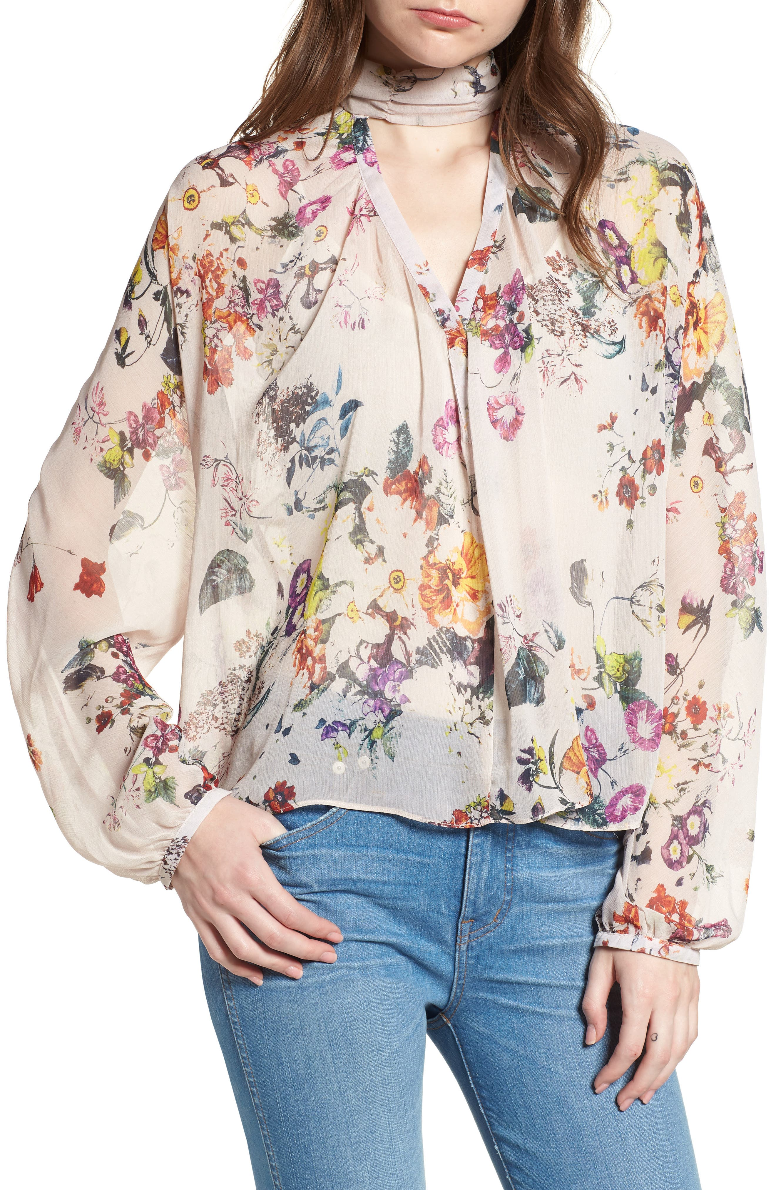 Bishop + Young Floral Choker Blouse,                             Main thumbnail 1, color,                             ROMANCE PRINT