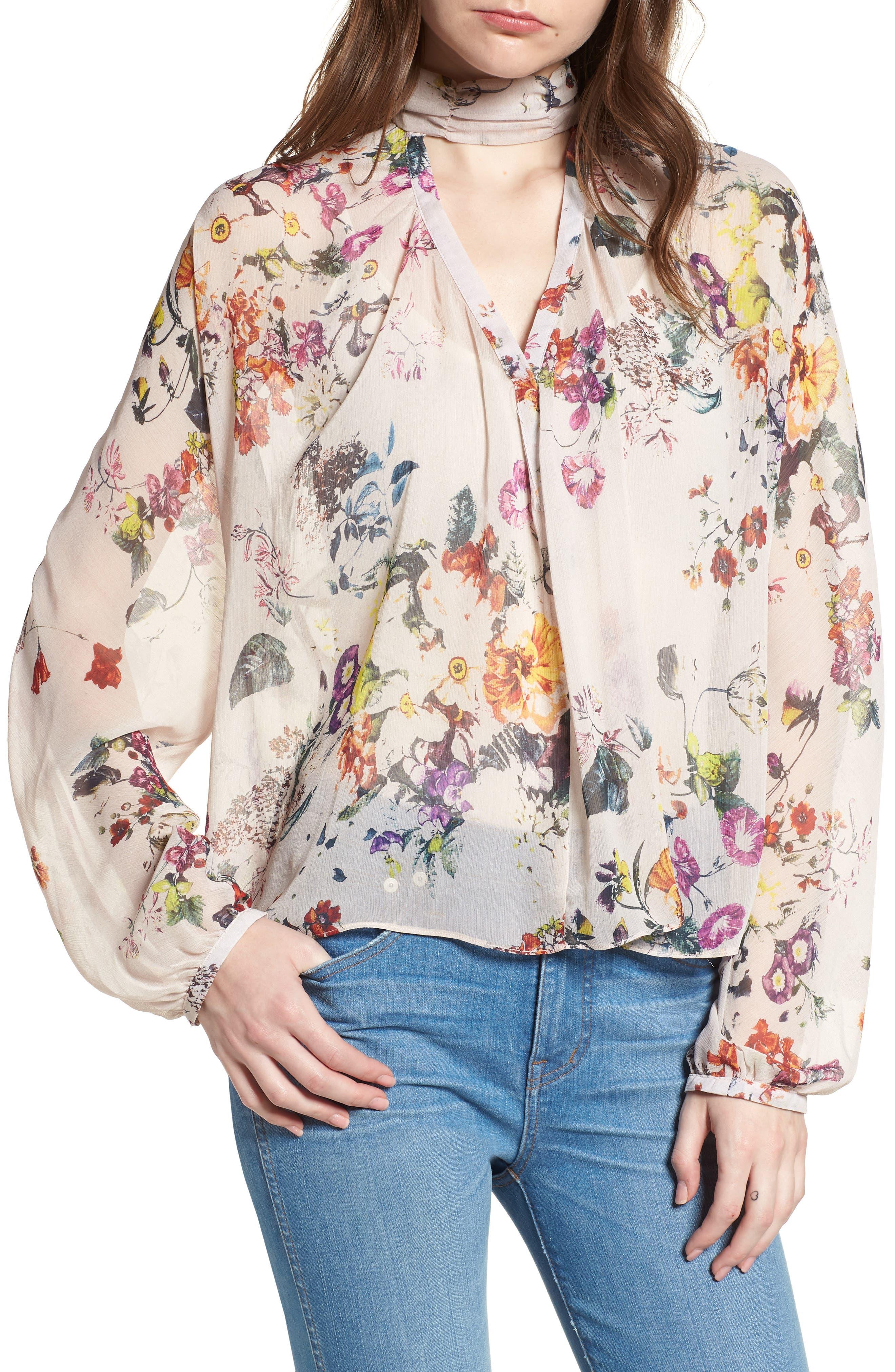 Bishop + Young Floral Choker Blouse,                         Main,                         color, ROMANCE PRINT