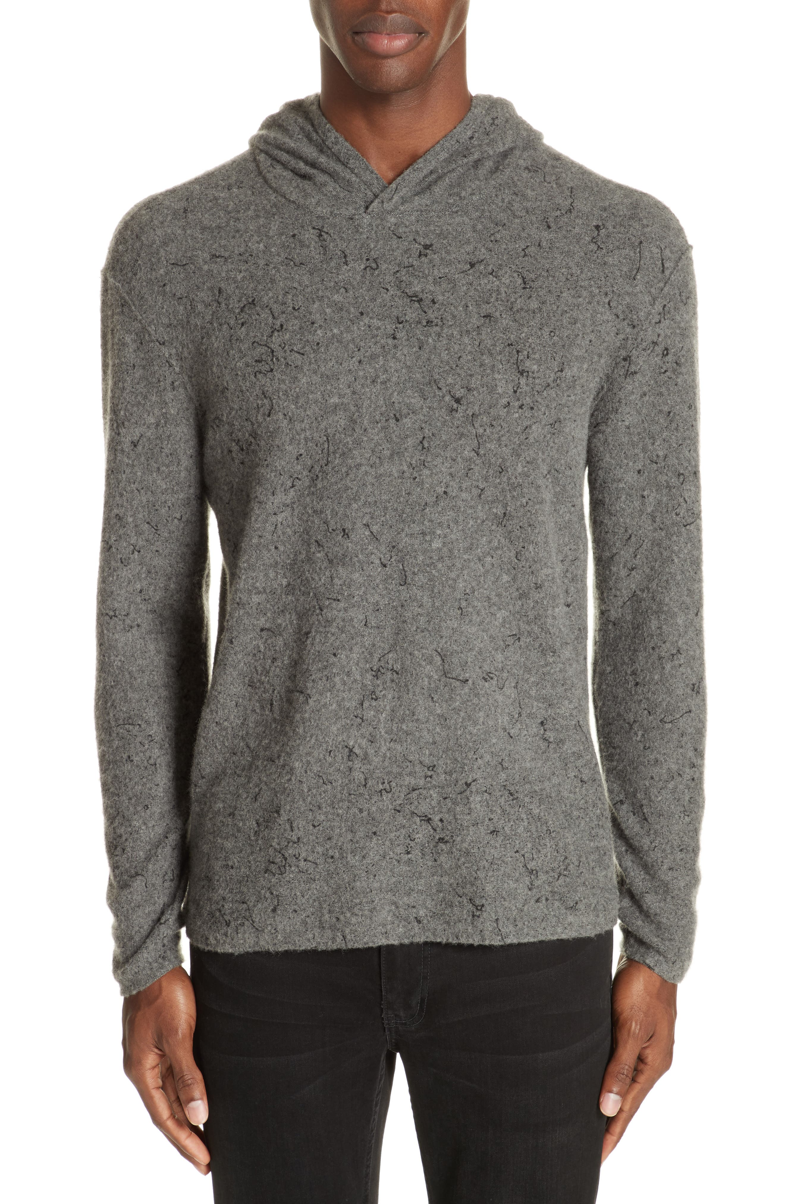 Wool Cashmere Hooded Sweater,                         Main,                         color, SMOKE HEATHER
