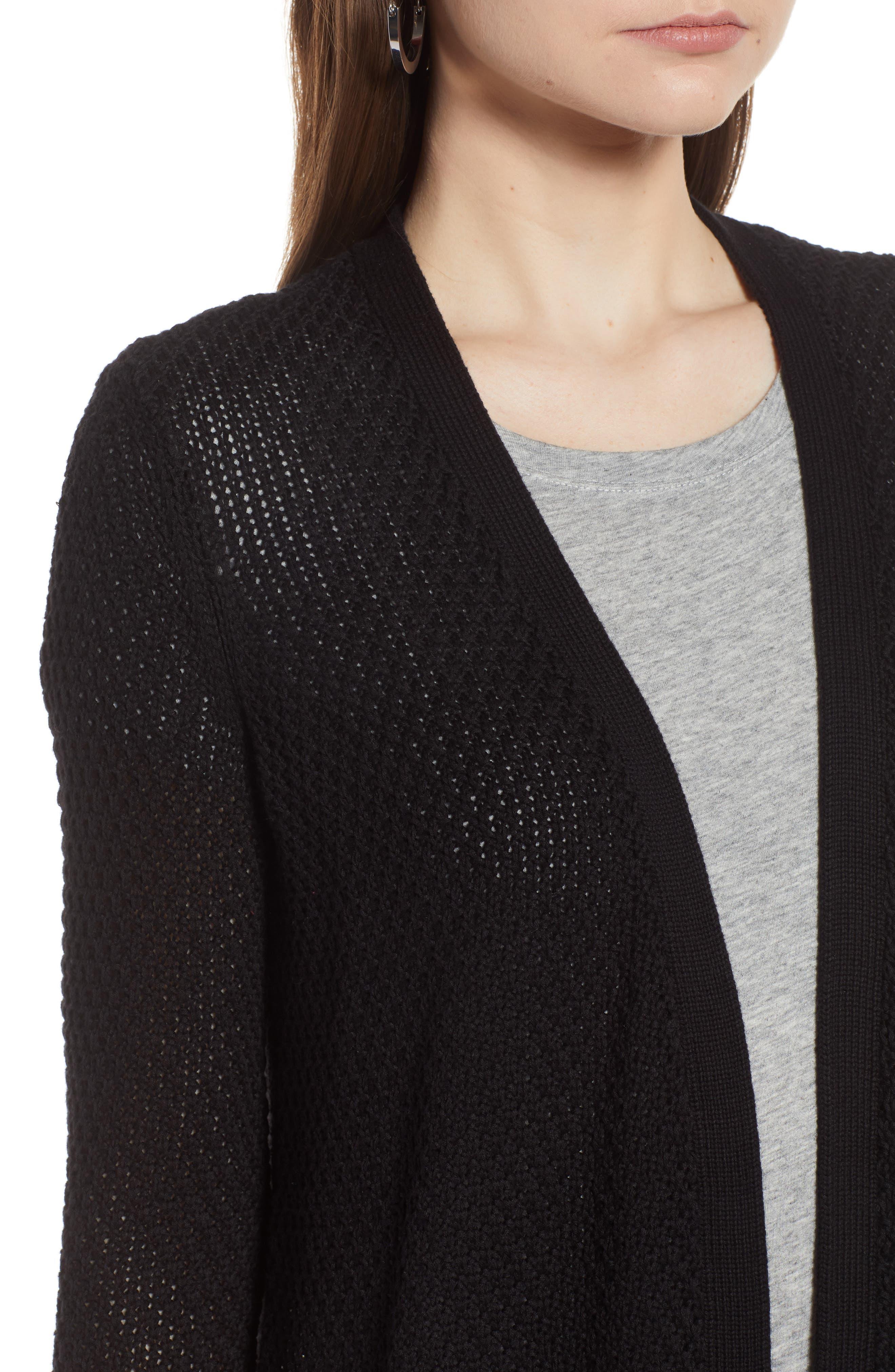 Textured Cotton Knit Cardigan,                             Alternate thumbnail 4, color,                             001