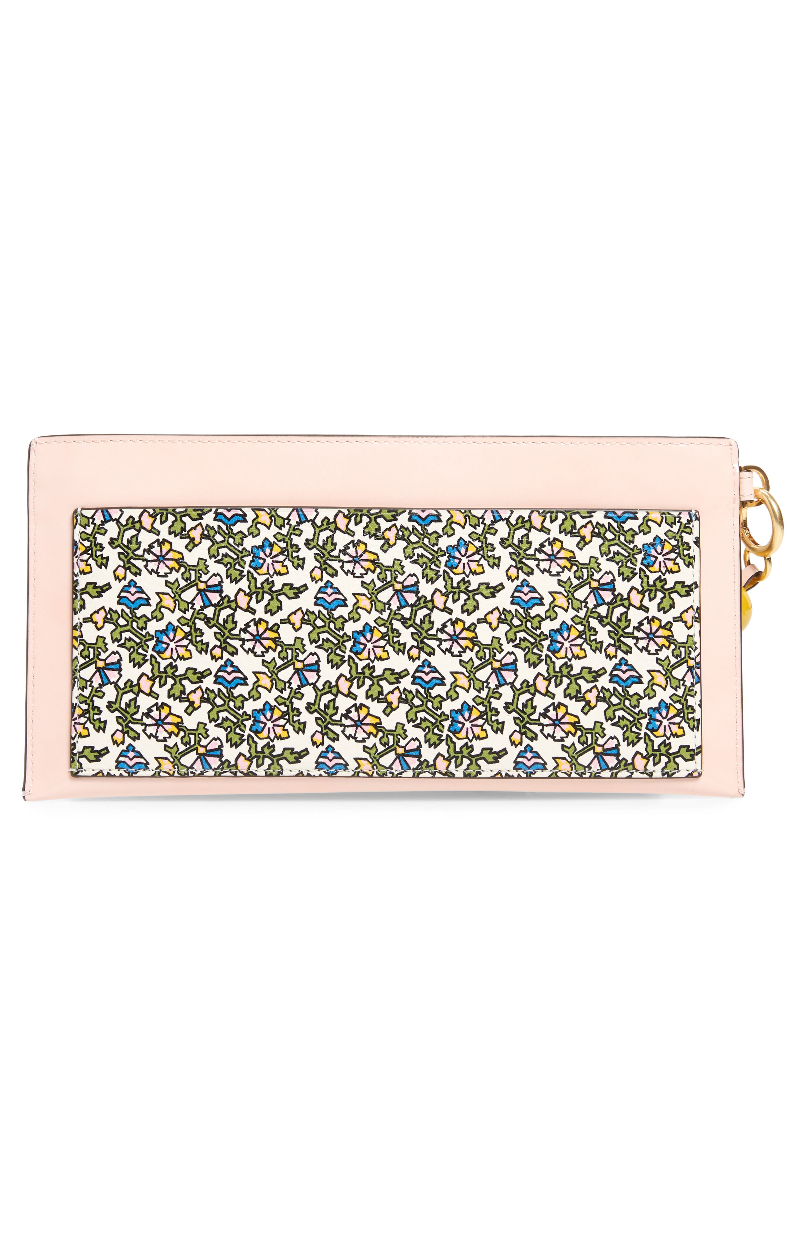 Colorblock Leather Wallet,                             Alternate thumbnail 3, color,                             IVORY WILD PANSY