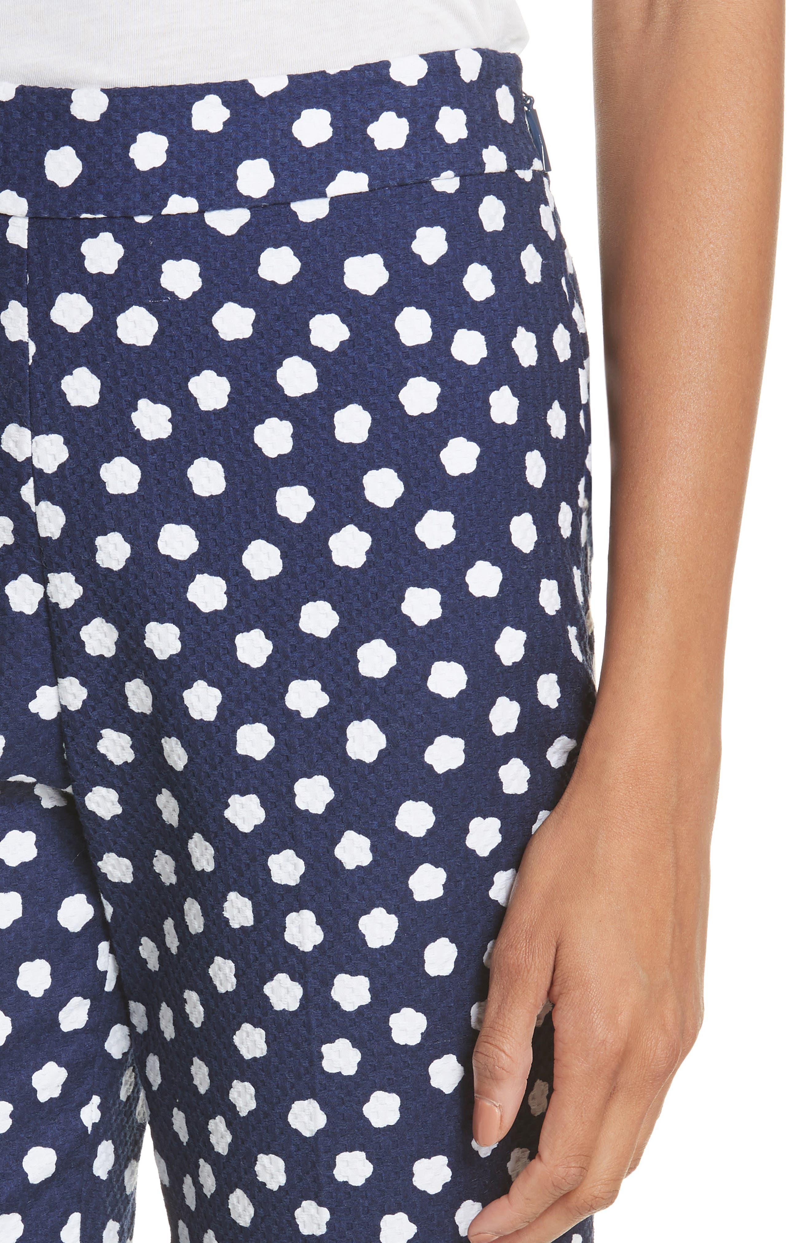 cloud print stretch cotton jacquard pants,                             Alternate thumbnail 4, color,                             483