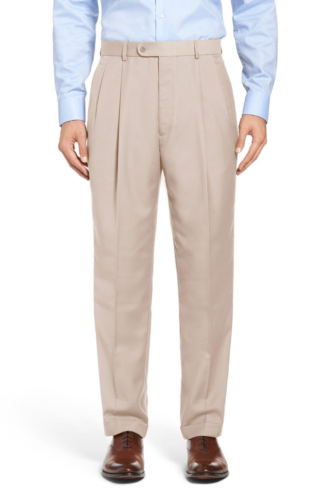 Pleated Microfiber Dress Pants,                             Main thumbnail 5, color,