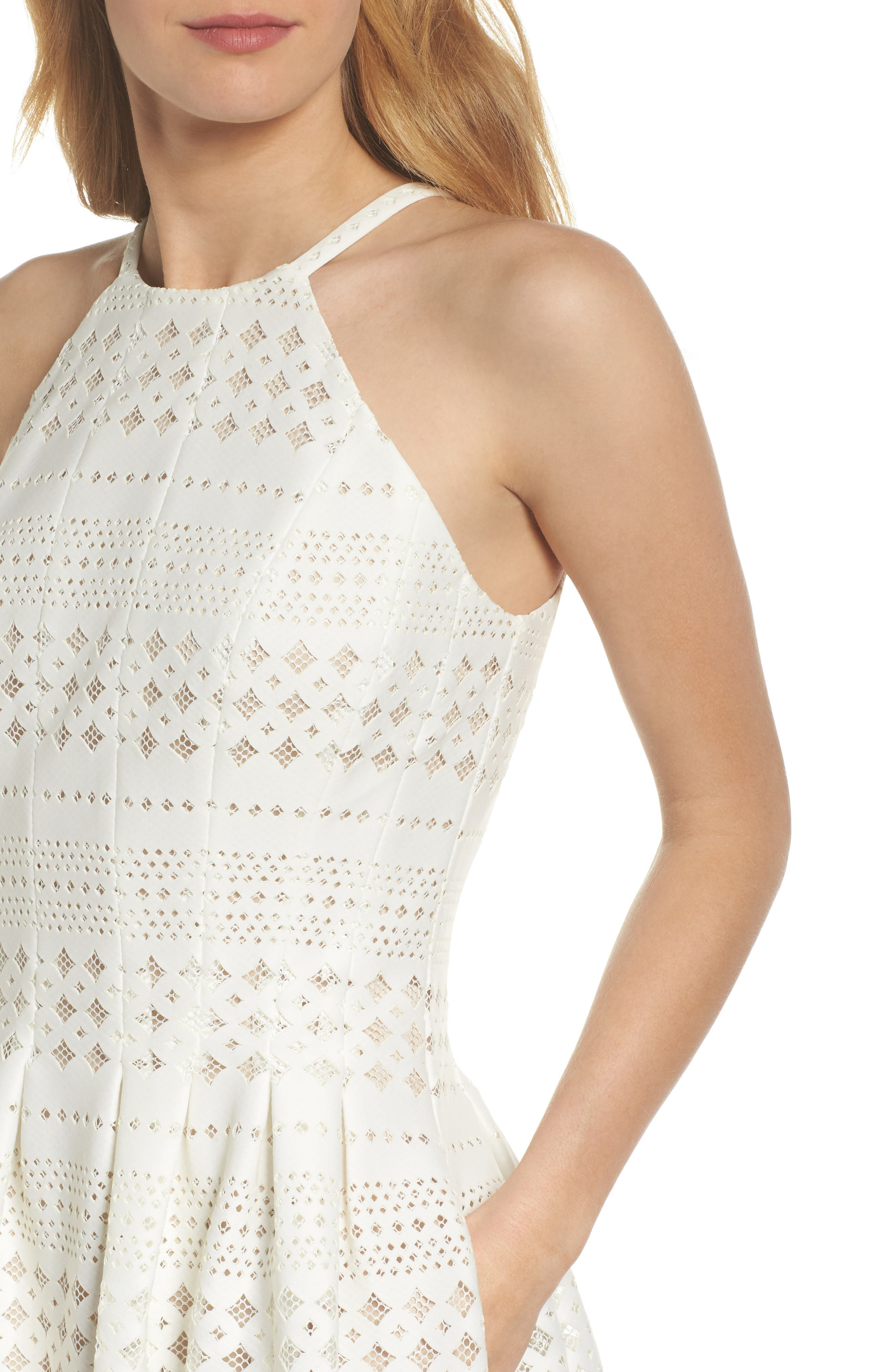 Laser Cut Fit & Flare Halter Dress,                             Alternate thumbnail 12, color,