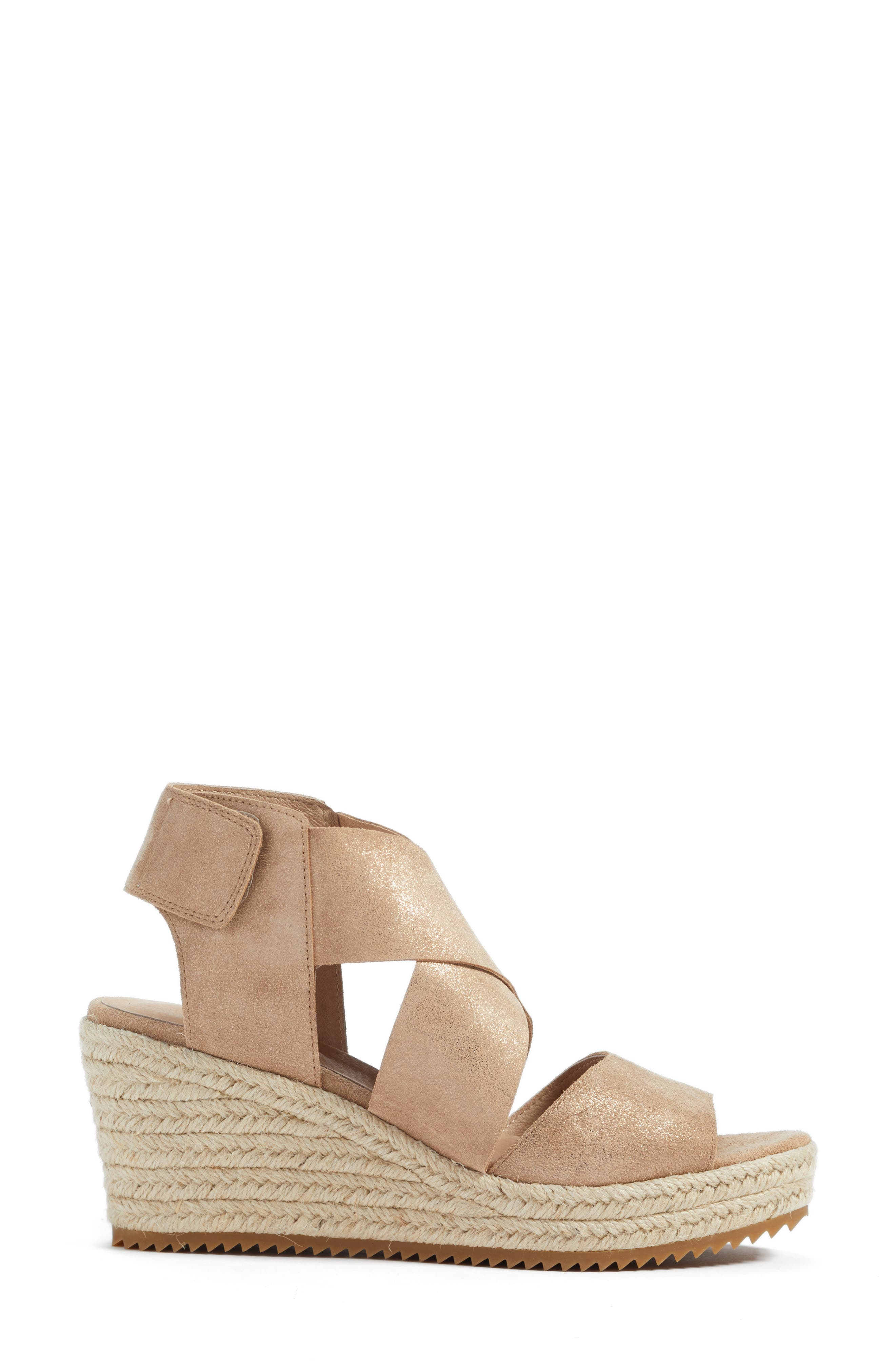 'Willow' Espadrille Wedge Sandal,                             Alternate thumbnail 3, color,                             LIGHT GOLD STARRY LEATHER