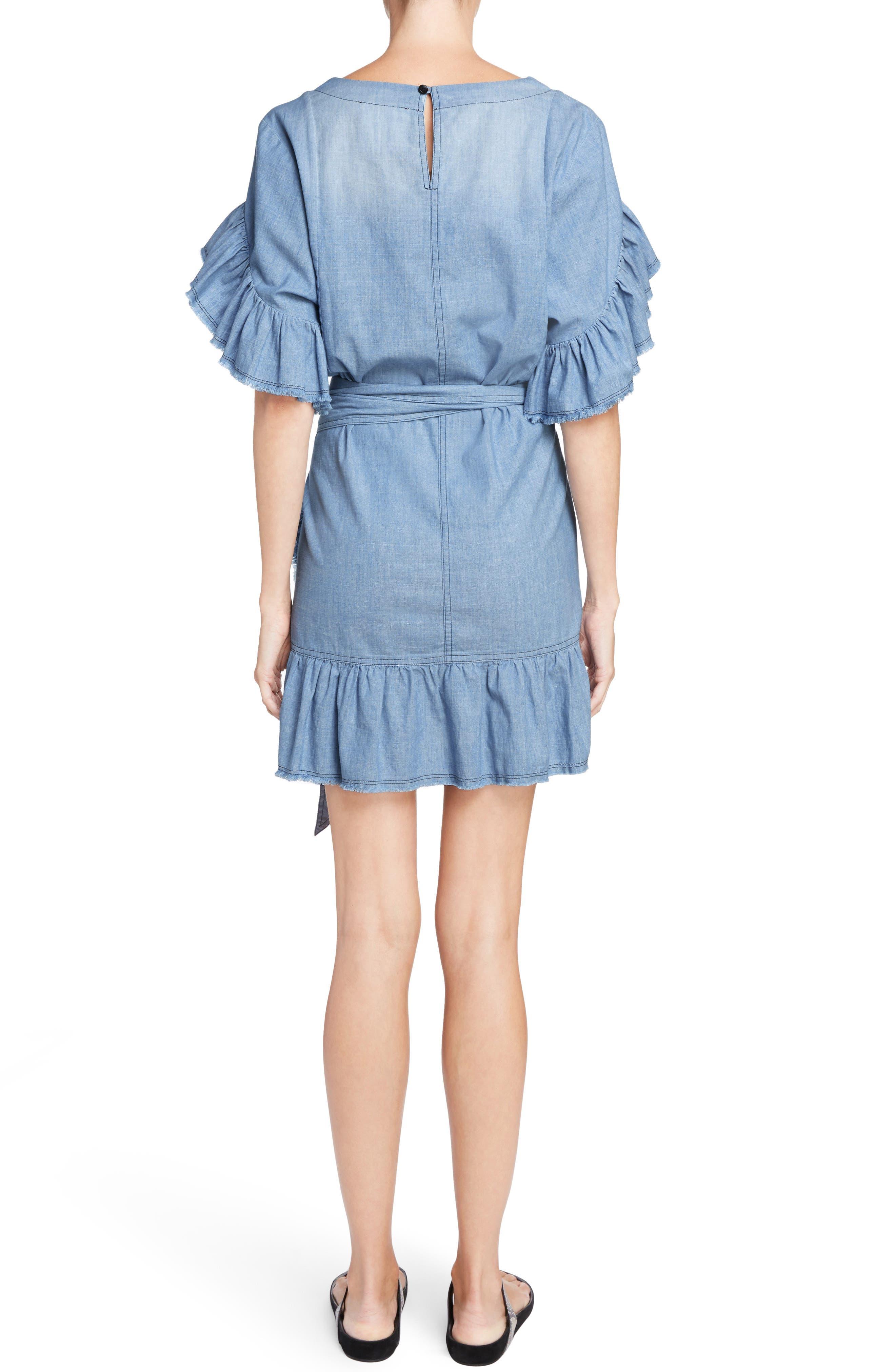 Isabel Marant Étoile Lelicia Denim Ruffle Dress,                             Alternate thumbnail 2, color,                             400