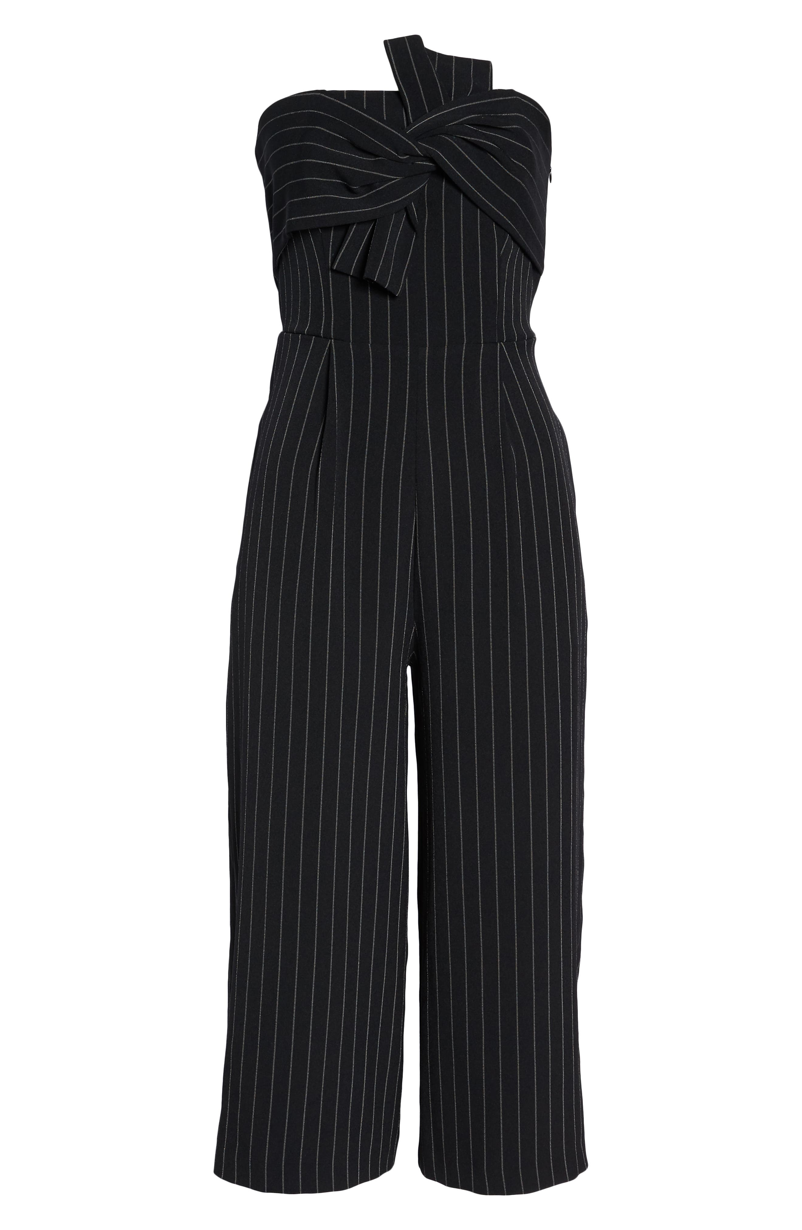 Pinstripe Tie Front Jumpsuit,                             Alternate thumbnail 7, color,                             001
