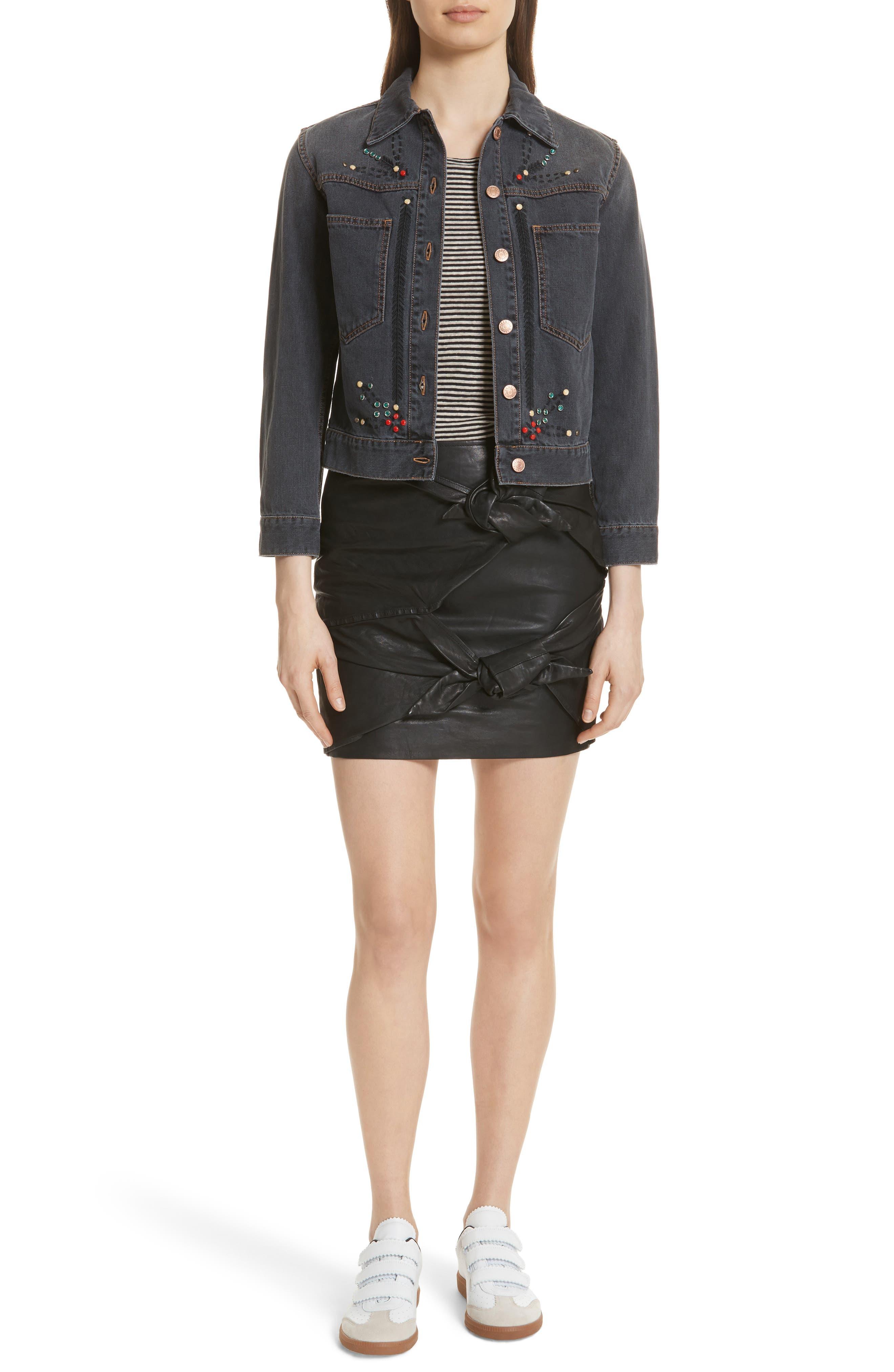 Isabel Marant Étoile Gritanny Tied Leather Skirt,                             Alternate thumbnail 6, color,                             001