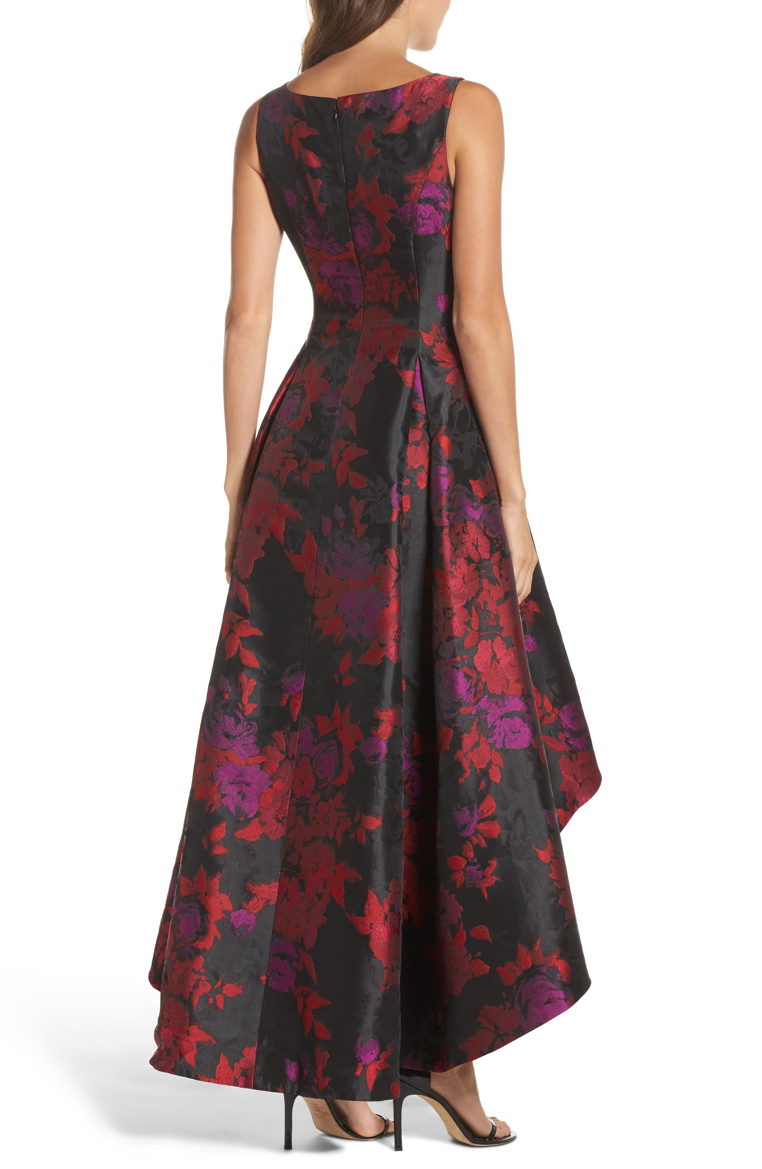 Floral Jacquard High/Low Gown,                             Alternate thumbnail 2, color,                             606