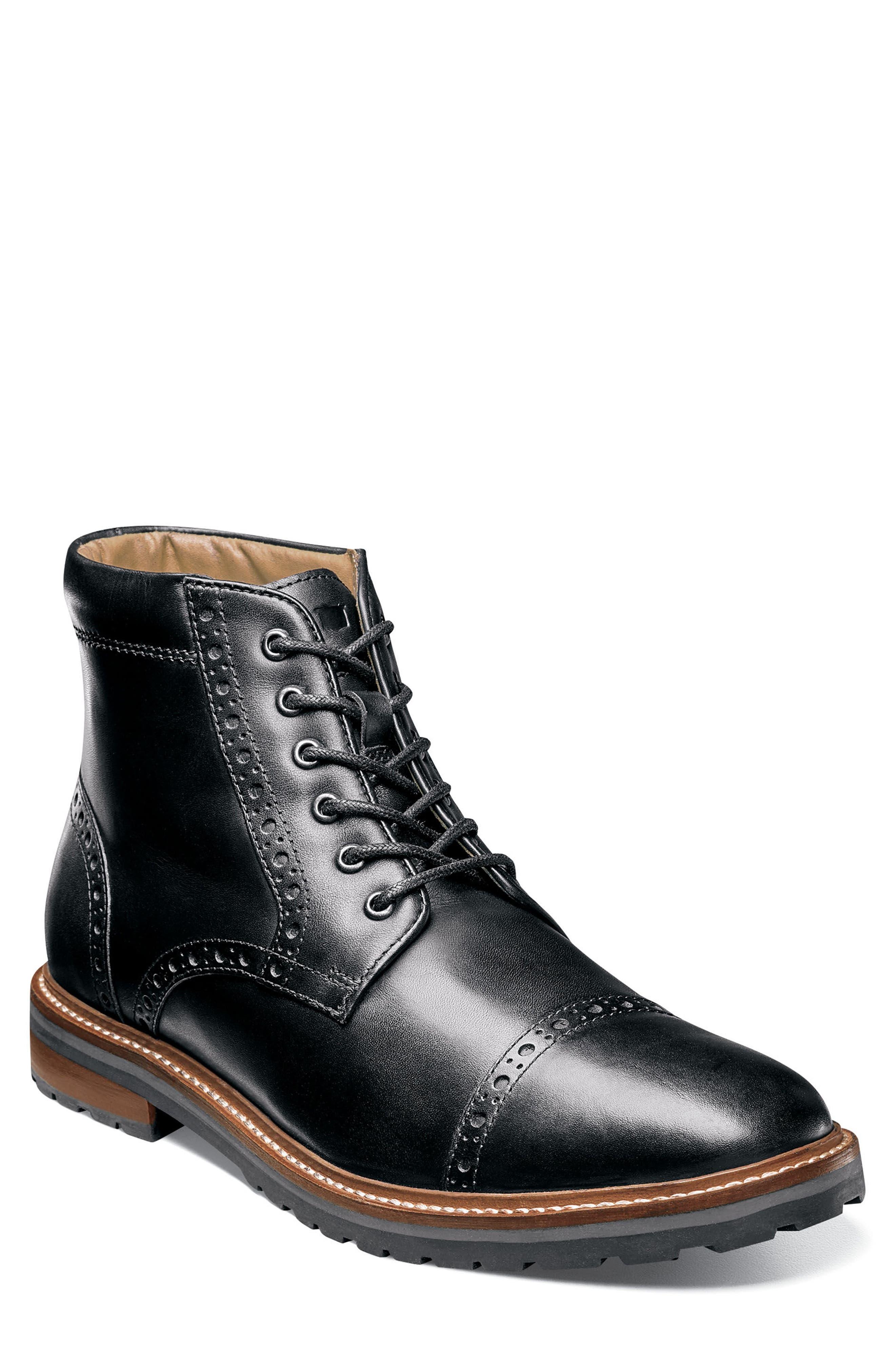 FLORSHEIM,                             Estabrook Cap Toe Boot,                             Main thumbnail 1, color,                             BLACK LEATHER