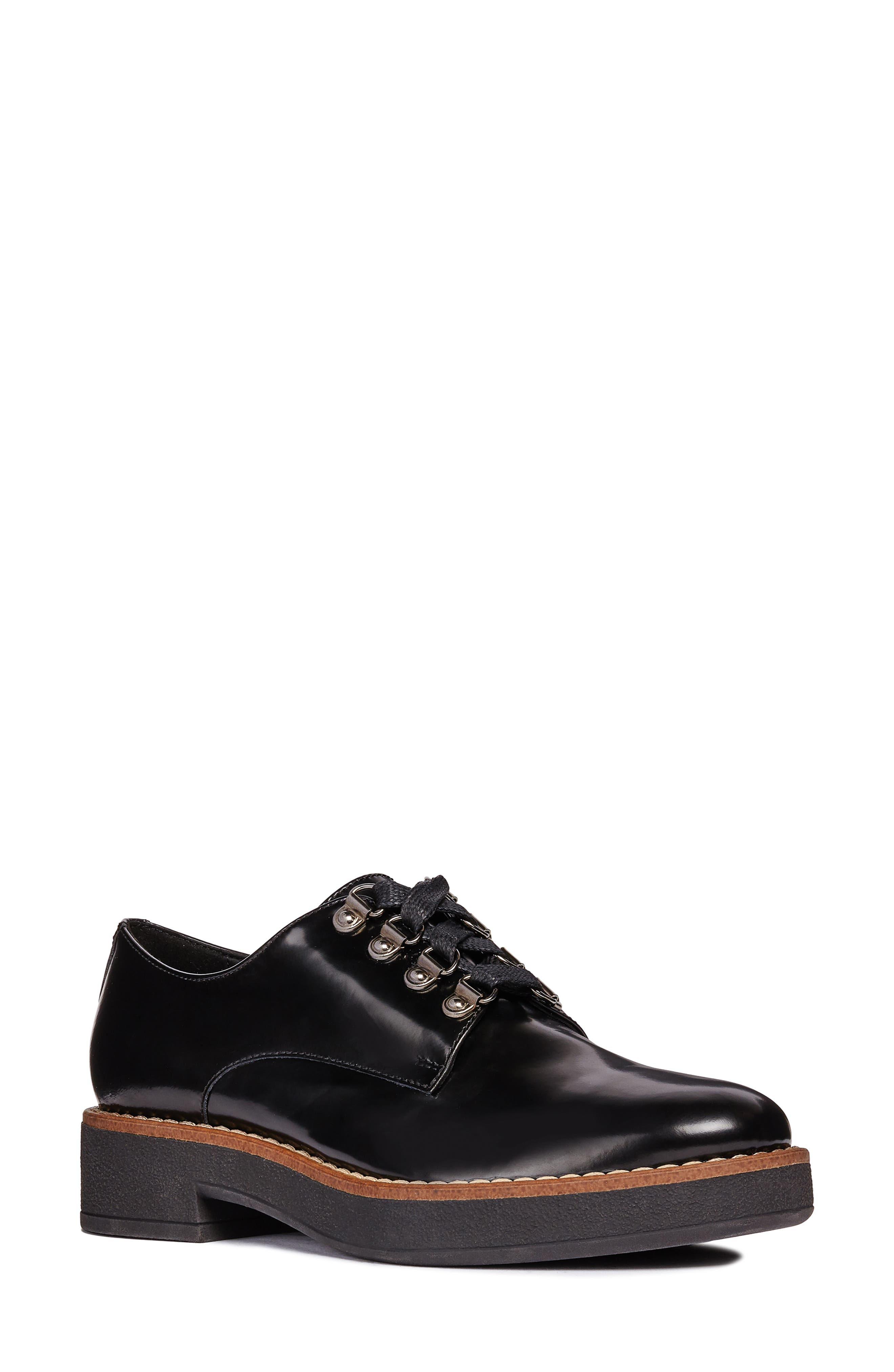 Adrya Oxford,                             Main thumbnail 1, color,                             BLACK/ BEIGE LEATHER