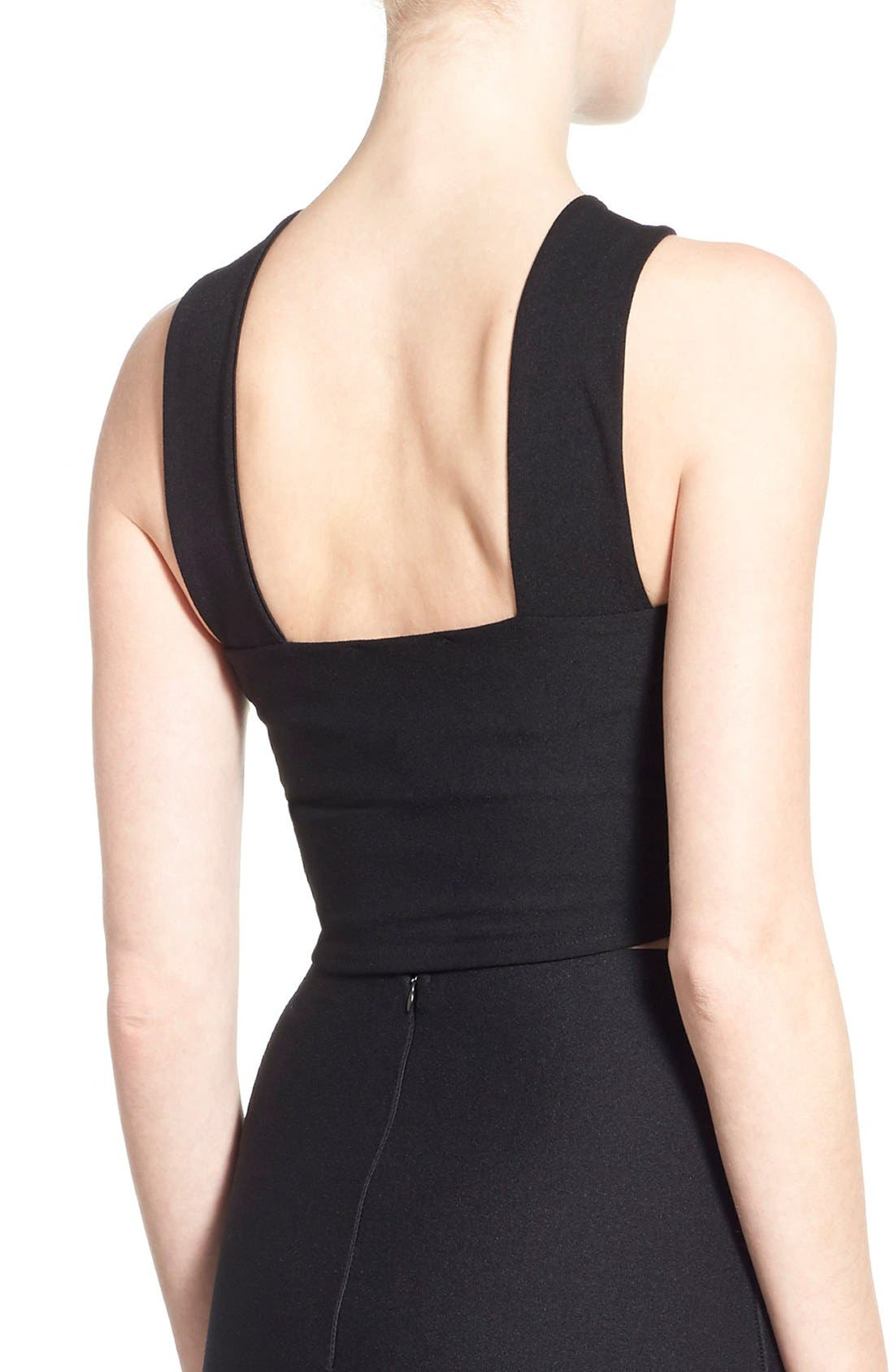 MISSGUIDED,                             Cross Strap Crop Top,                             Alternate thumbnail 4, color,                             001