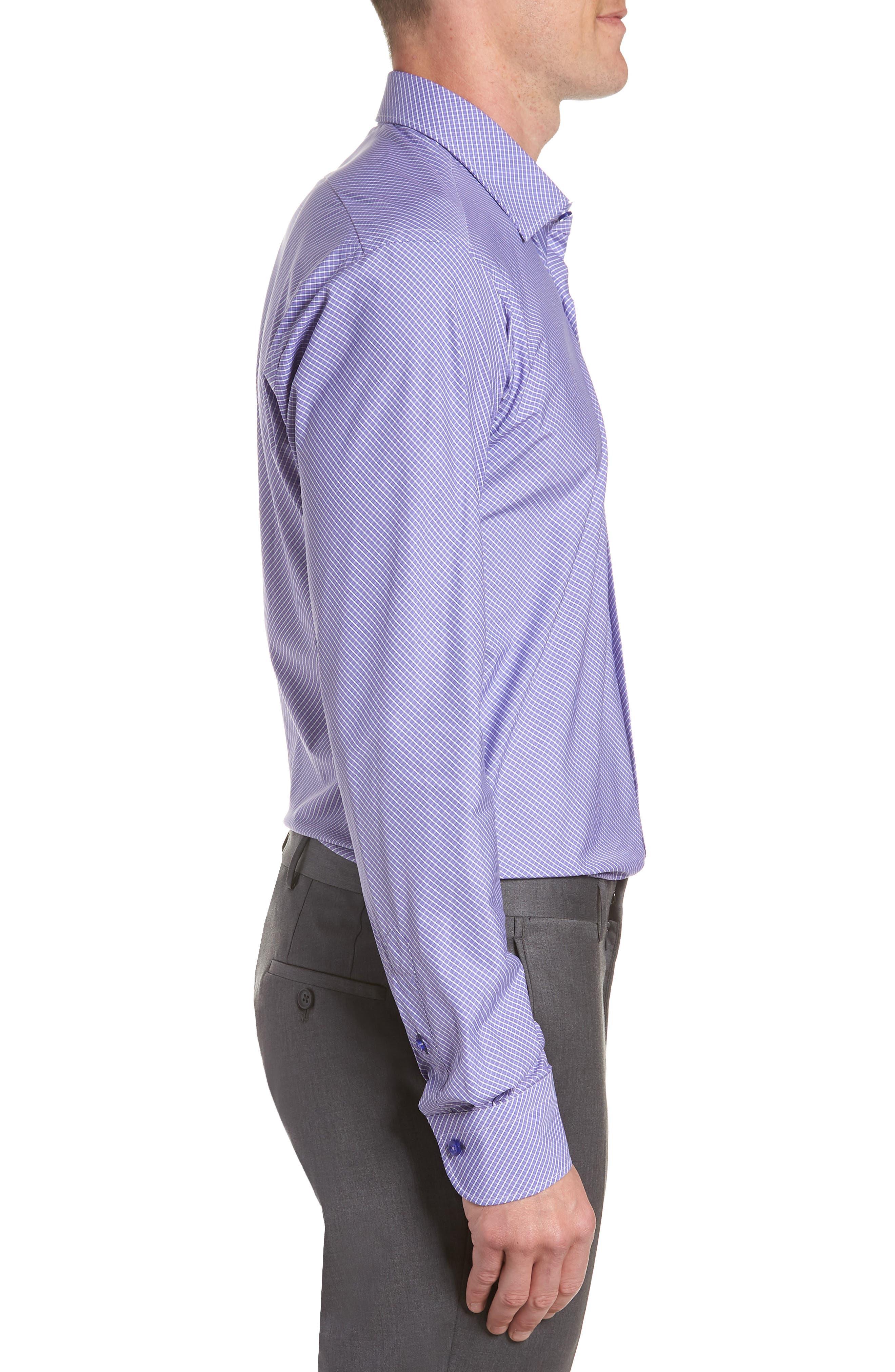 Regular Fit Check Dress Shirt,                             Alternate thumbnail 4, color,                             PURPLE