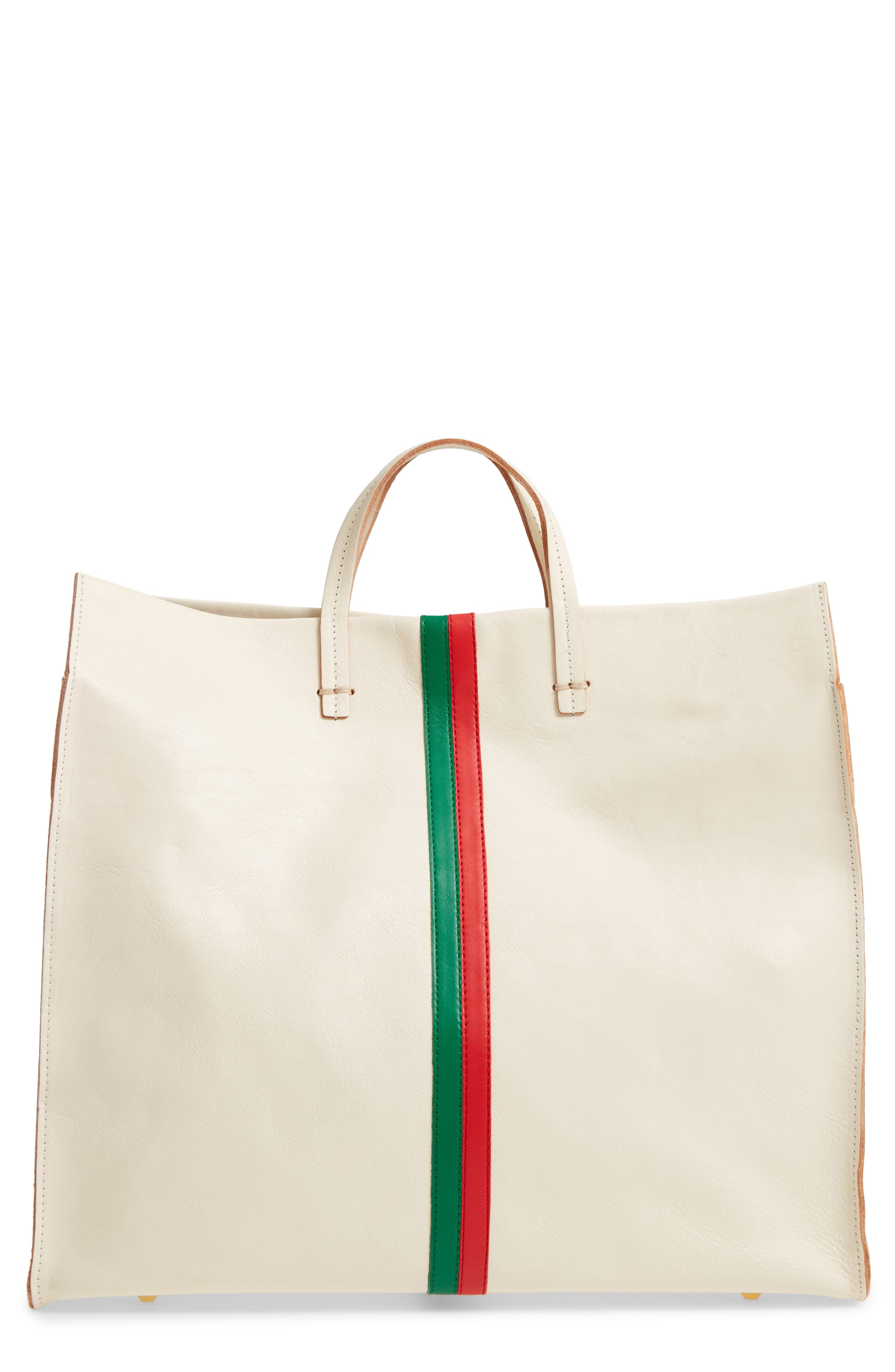 Simple Stripe Leather Tote,                             Main thumbnail 1, color,                             WHITE
