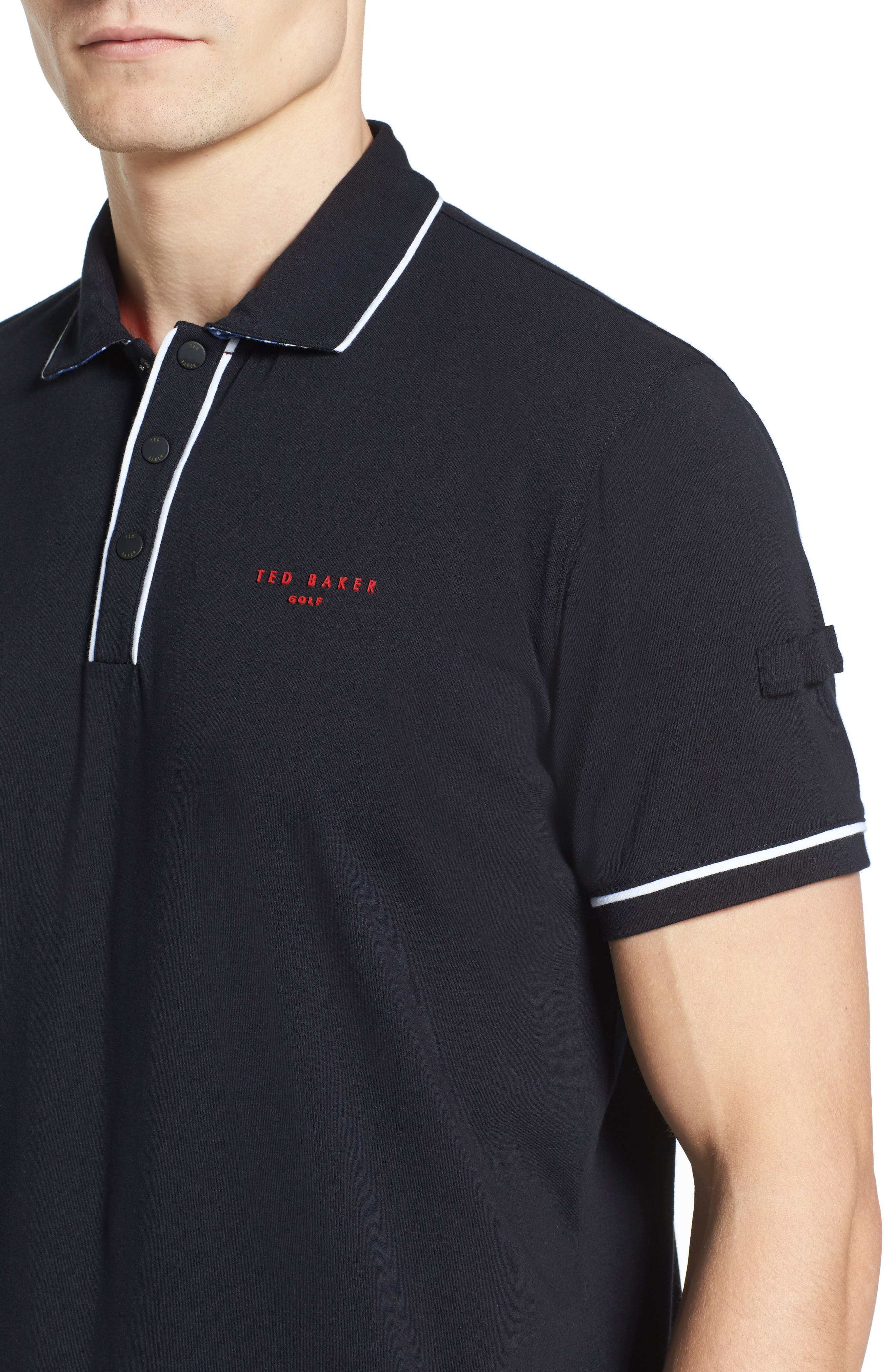 Playgo Piped Trim Golf Polo,                             Alternate thumbnail 4, color,                             001