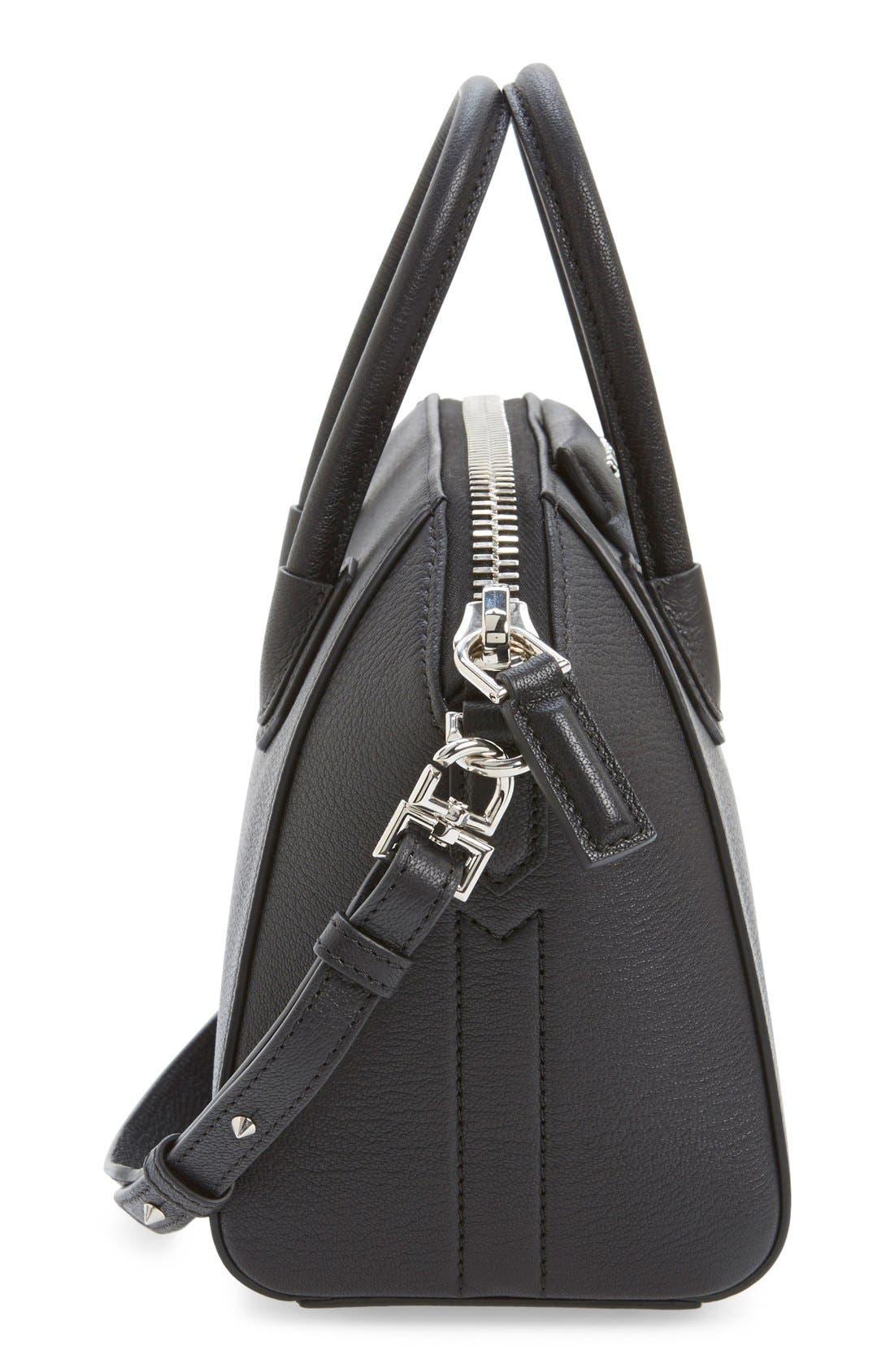 'Mini Antigona' Sugar Leather Satchel,                             Alternate thumbnail 7, color,                             BLACK