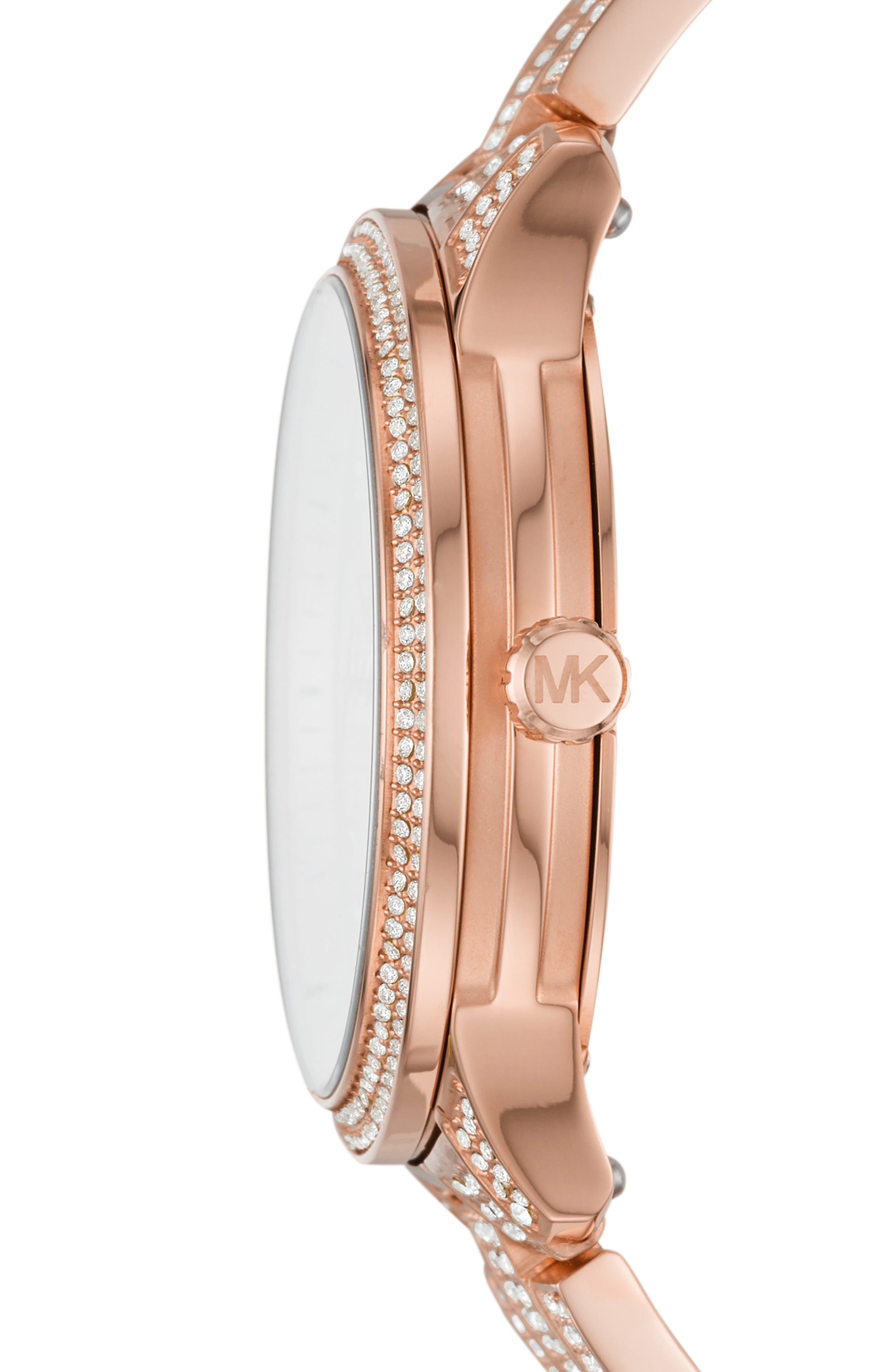 MICHAEL KORS,                             Runway Crystal Bracelet Watch, 38mm,                             Alternate thumbnail 2, color,                             ROSE GOLD
