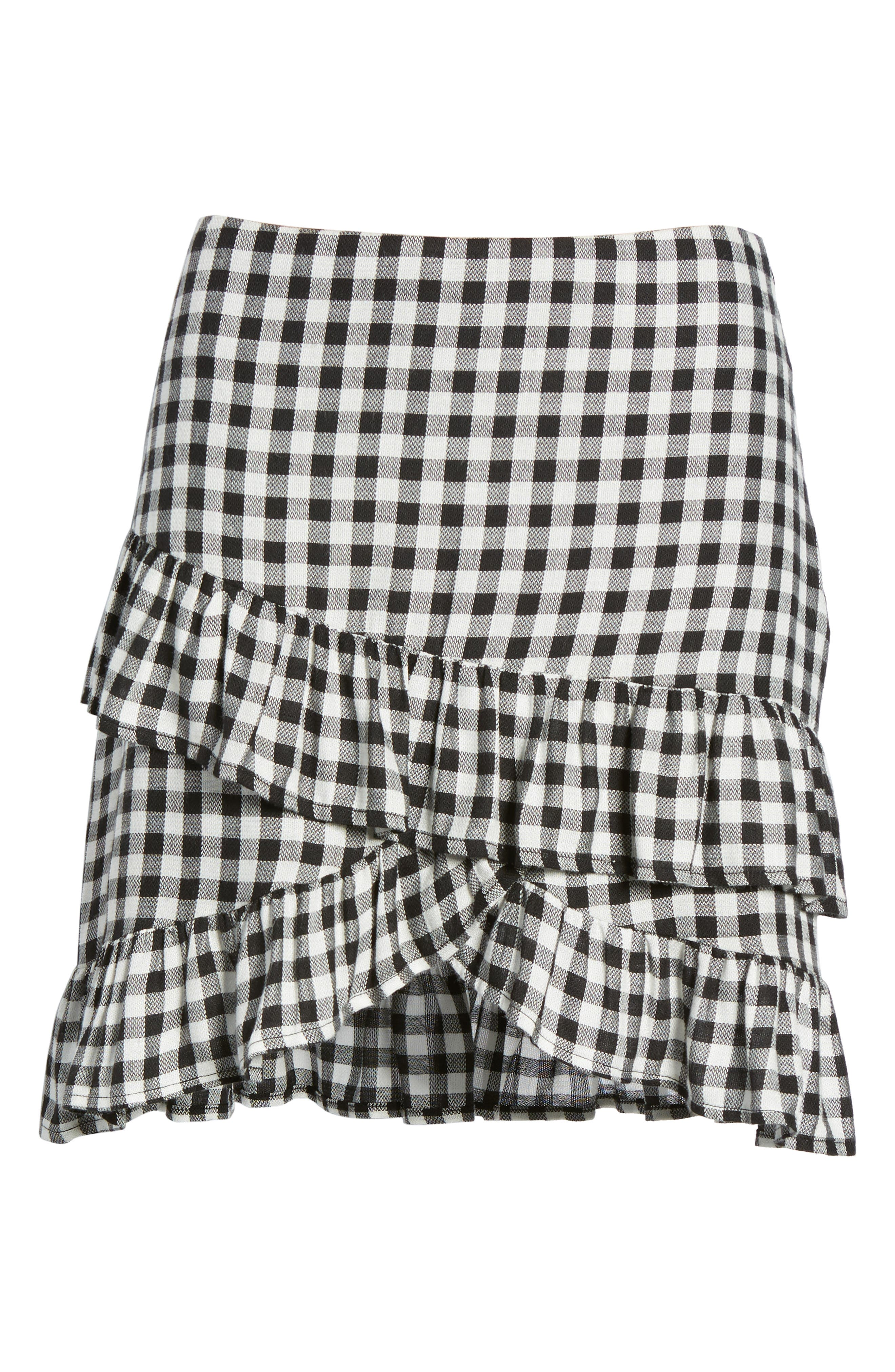 Day Trip Gingham Ruffle Skirt,                             Alternate thumbnail 6, color,                             003