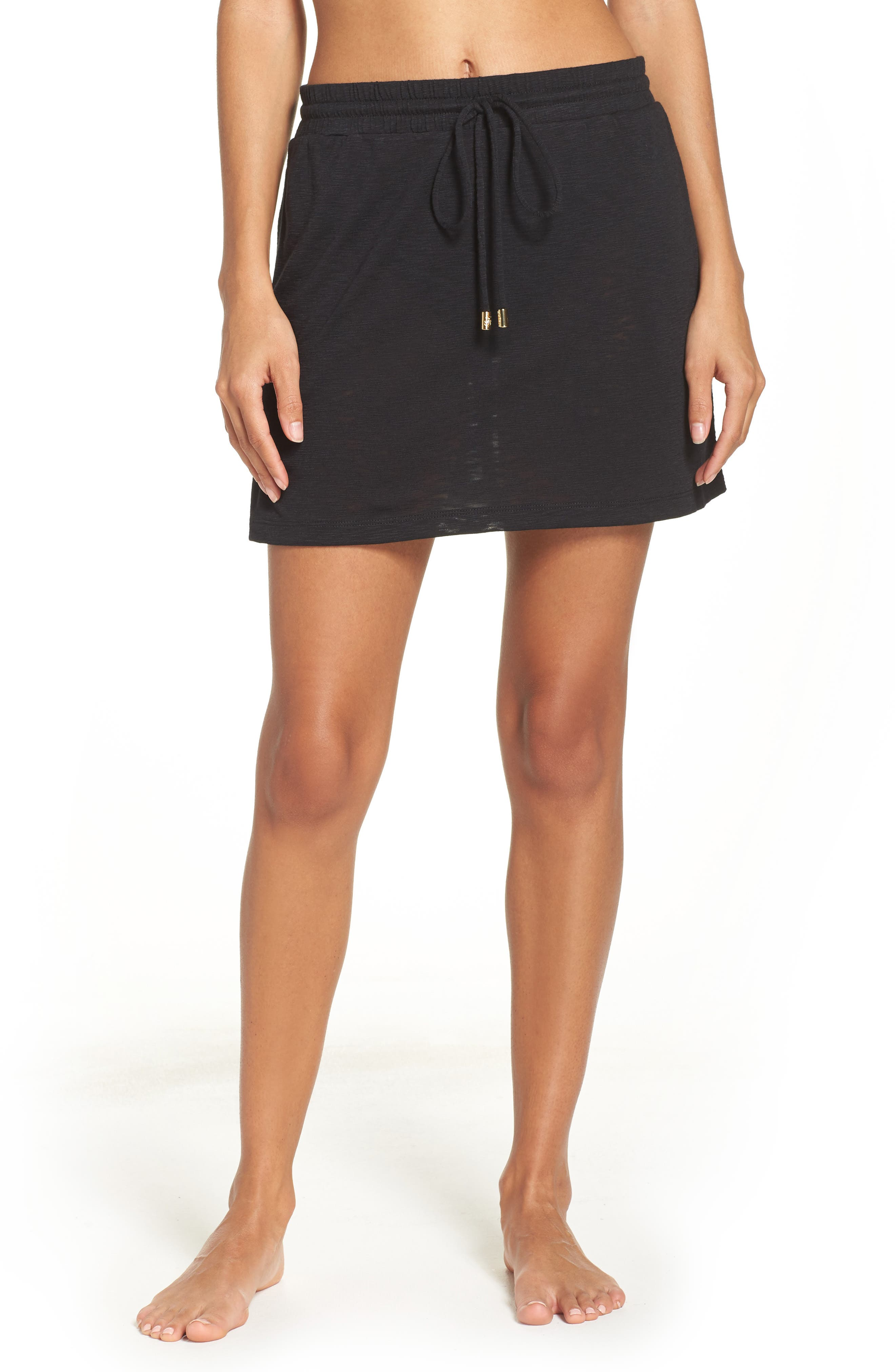 TOMMY BAHAMA Cover-Up Skirt, Main, color, BLACK