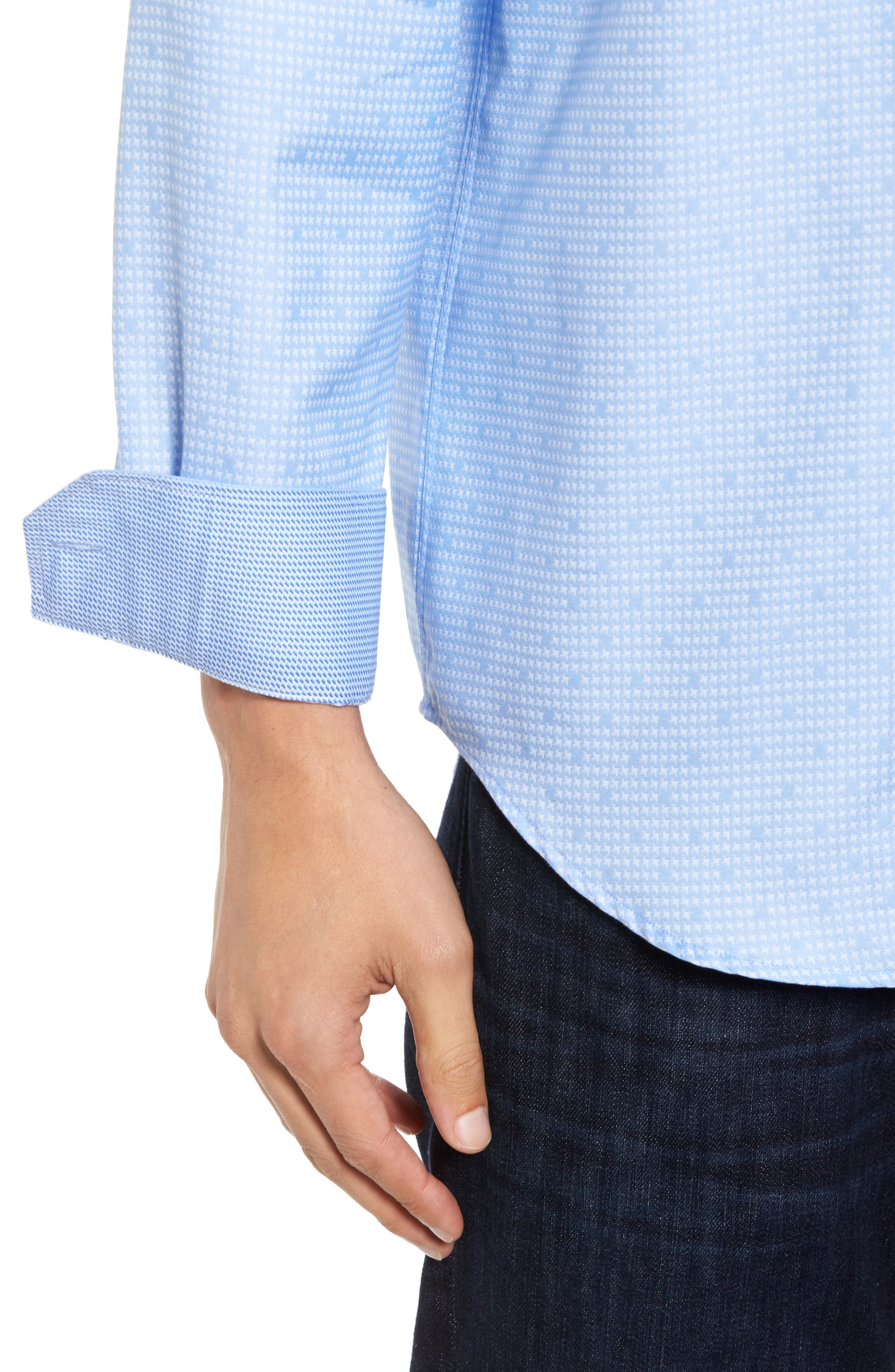 Classic Fit Houndstooth Sport Shirt,                             Alternate thumbnail 4, color,                             459