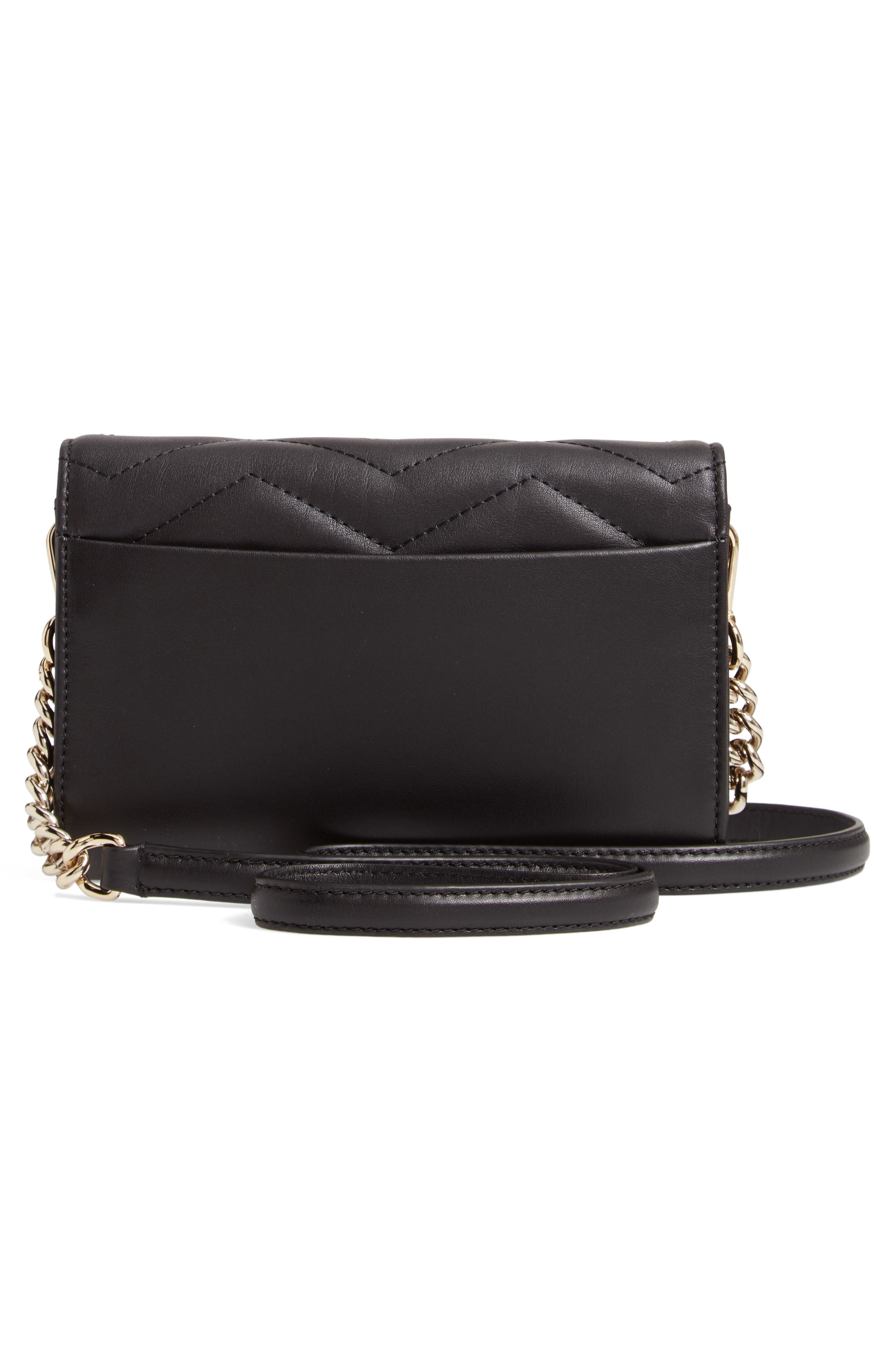 reese park – wyn quilted leather crossbody,                             Alternate thumbnail 3, color,                             BLACK