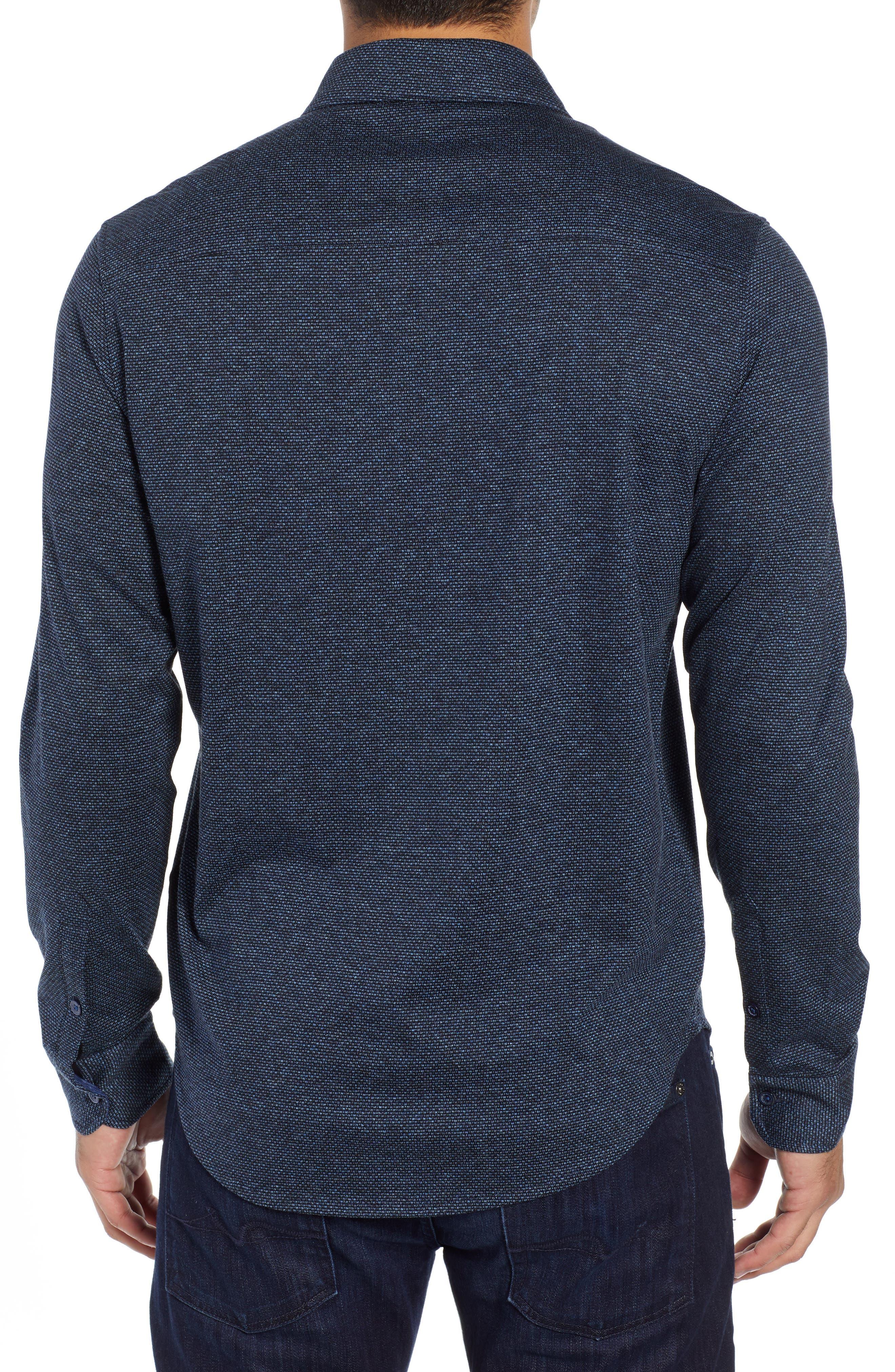 Shaped Fit Knit Sport Shirt,                             Alternate thumbnail 3, color,                             CHARCOAL