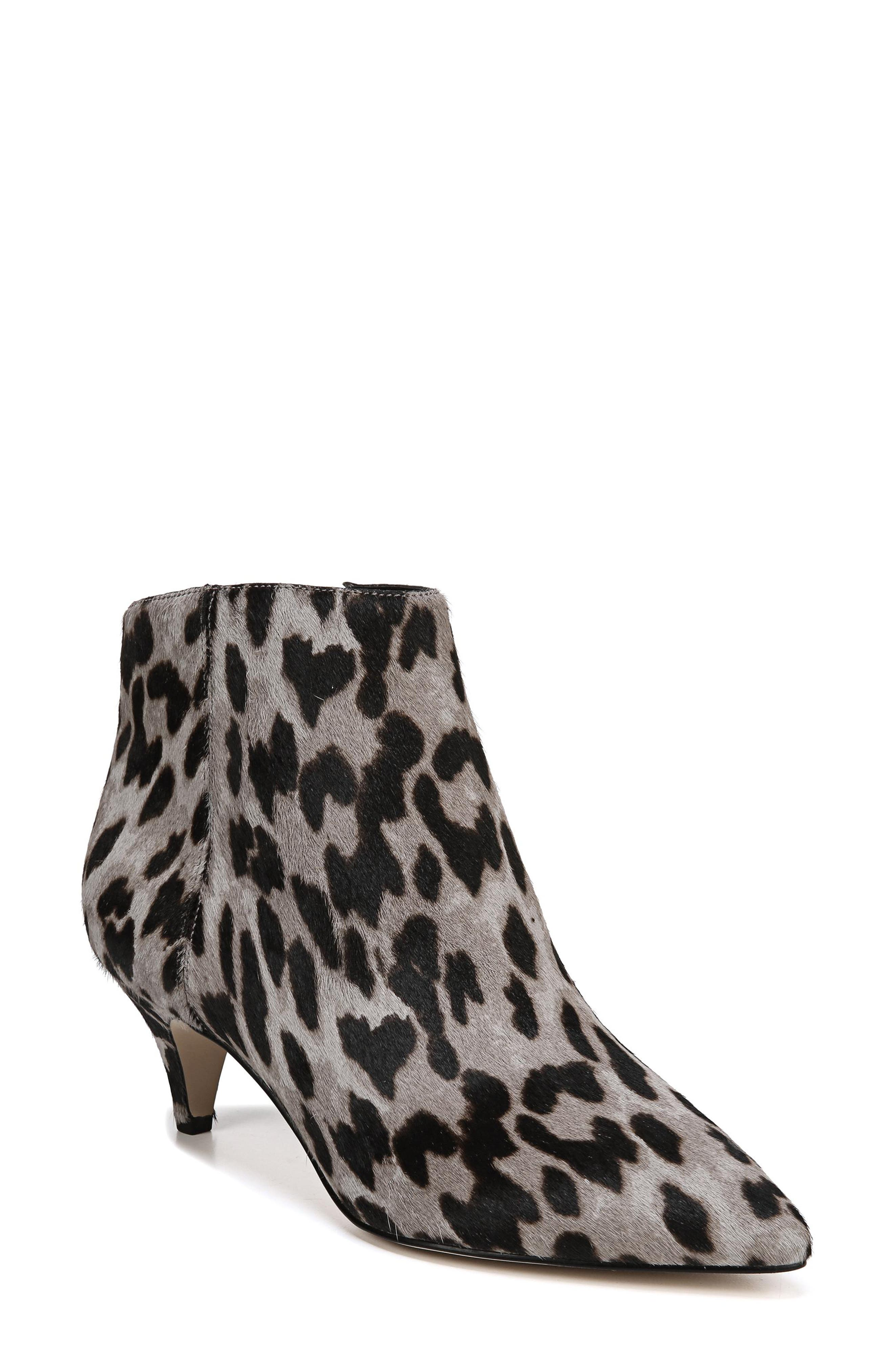 Kinzey Genuine Calf Hair Pointy Toe Bootie,                             Main thumbnail 1, color,                             GREY LEOPARD BRAHMA HAIR