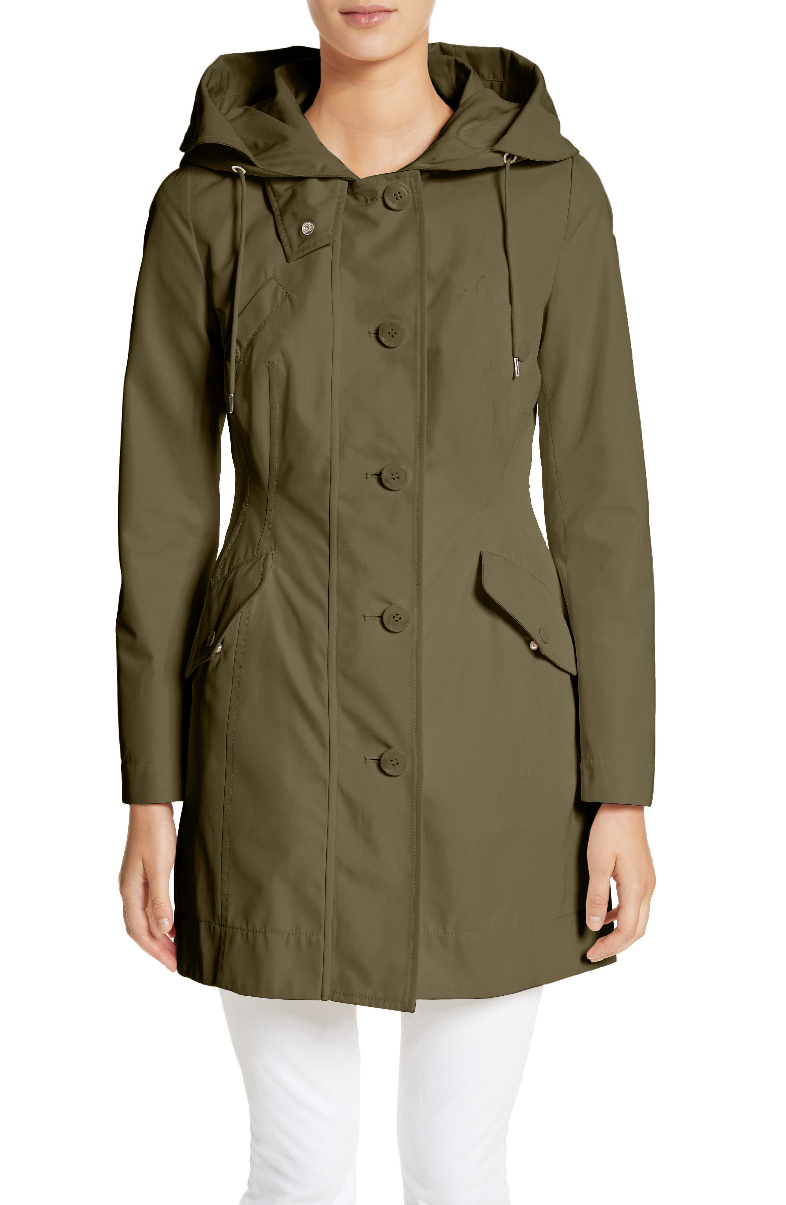 Audrey Water Resistant Hooded Raincoat,                         Main,                         color, OLIVE