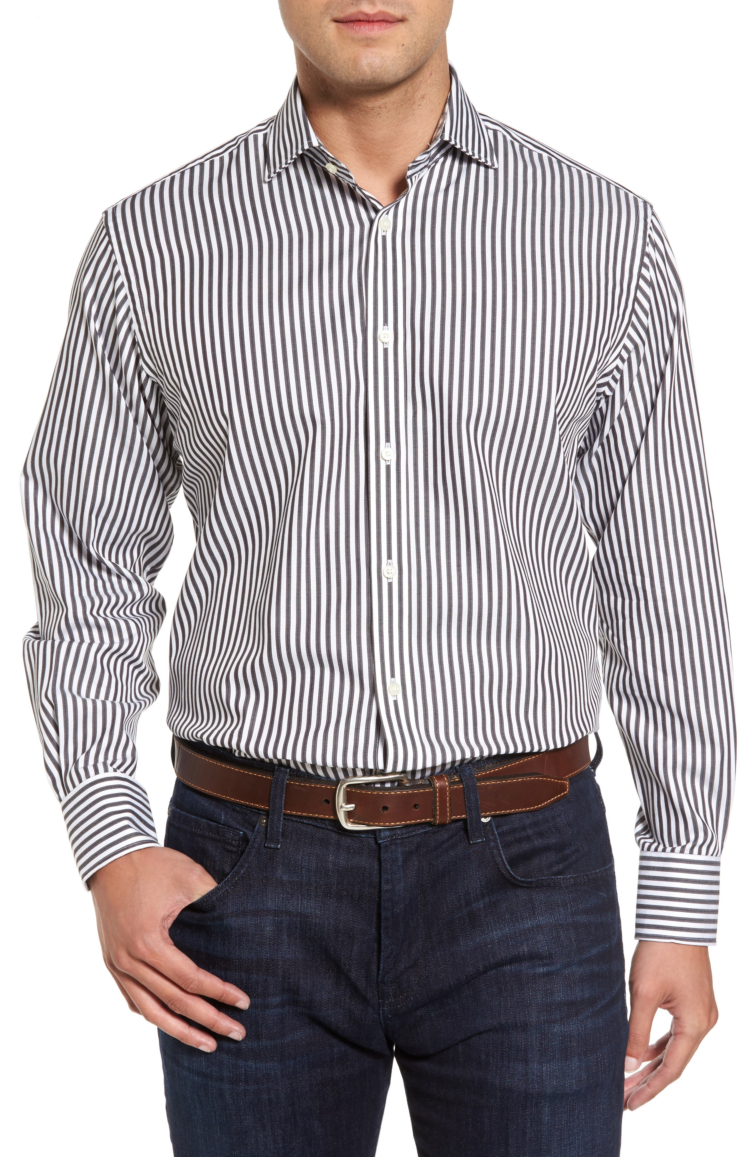 THOMAS DEAN Regular Fit Stripe Herringbone Sport Shirt, Main, color, 021