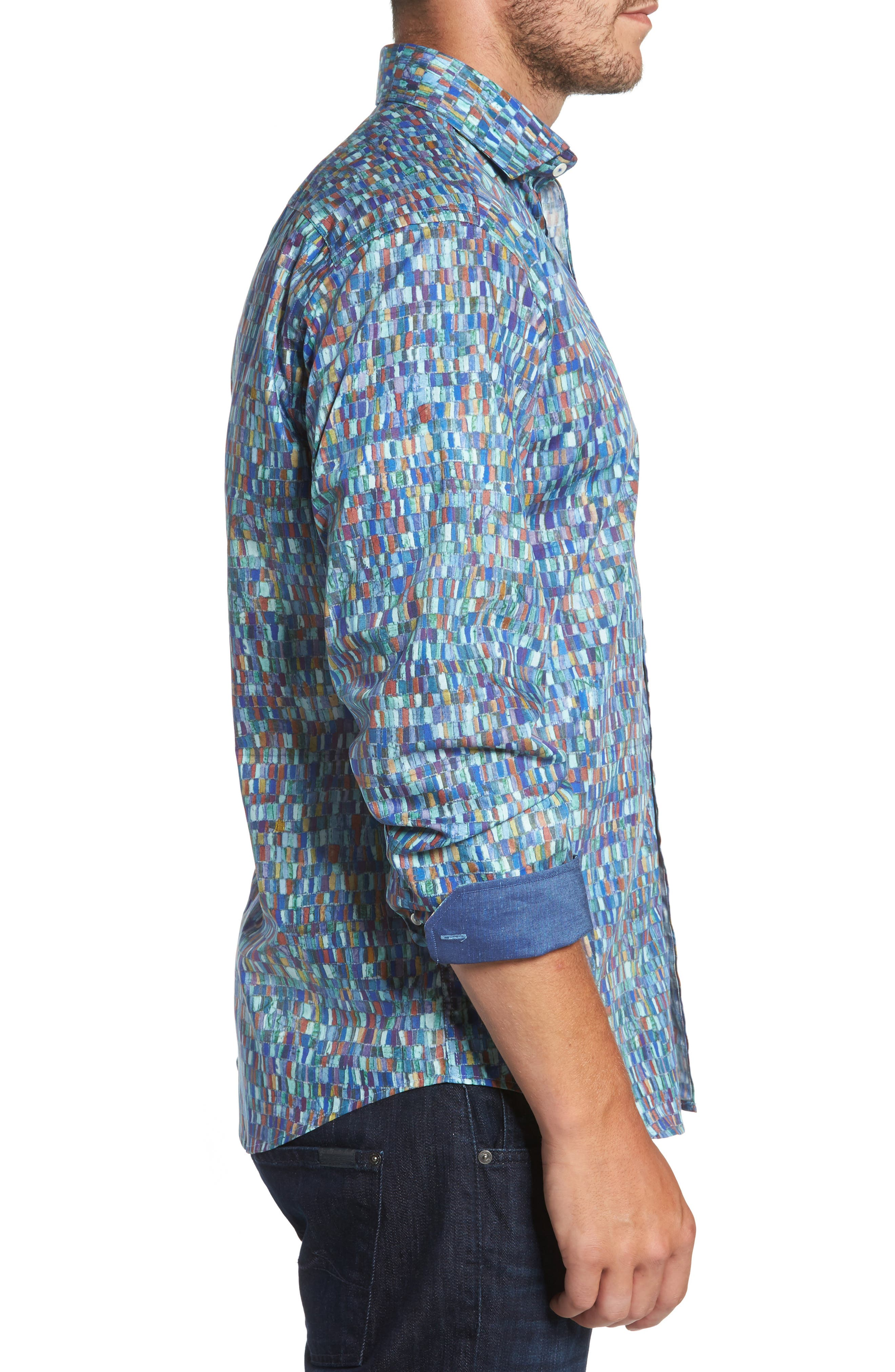Classic Fit Mosaic Print Sport Shirt,                             Alternate thumbnail 3, color,                             301