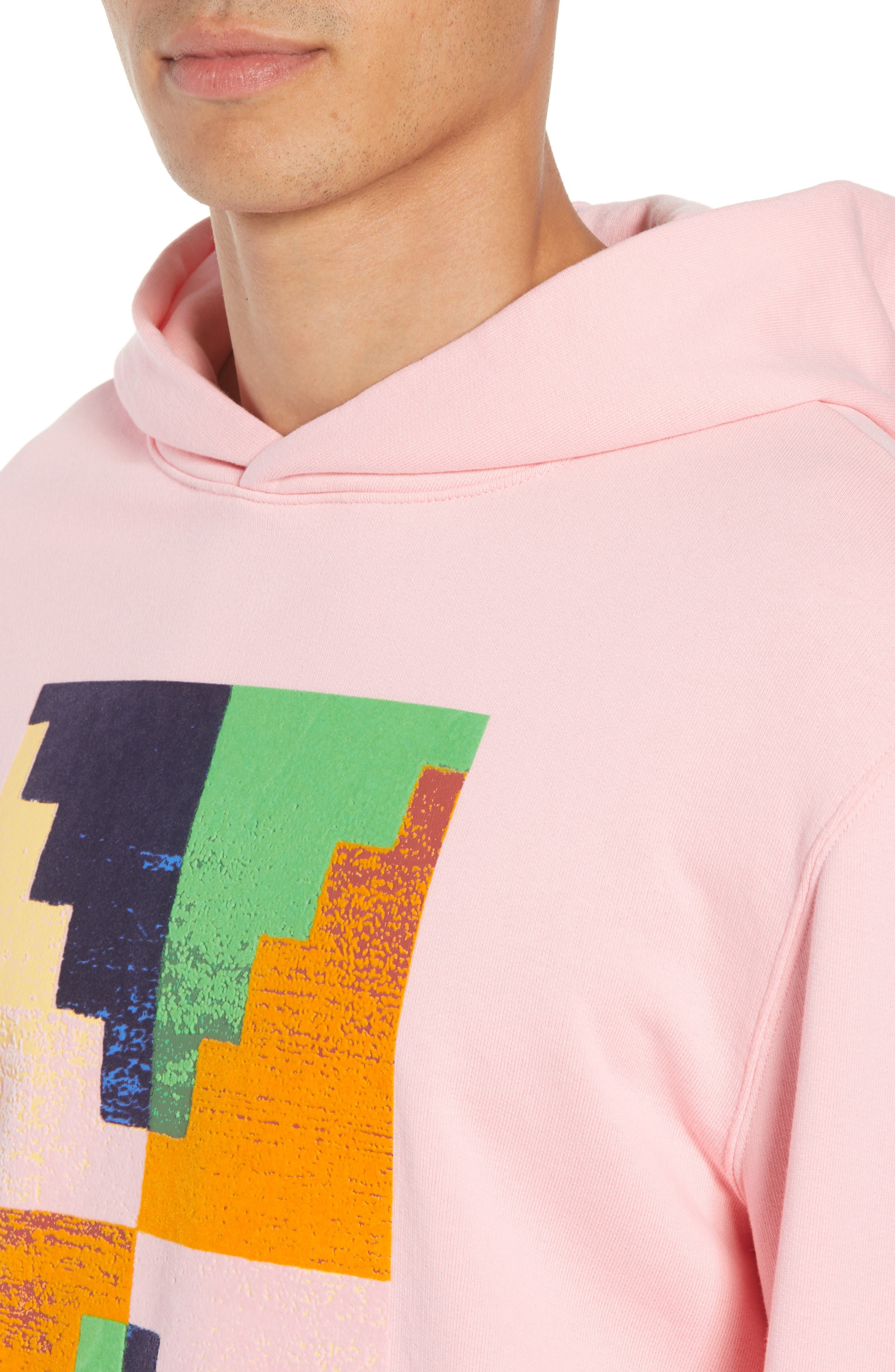 Pyramid Classic Fit Hoodie,                             Alternate thumbnail 4, color,                             CANDY PINK
