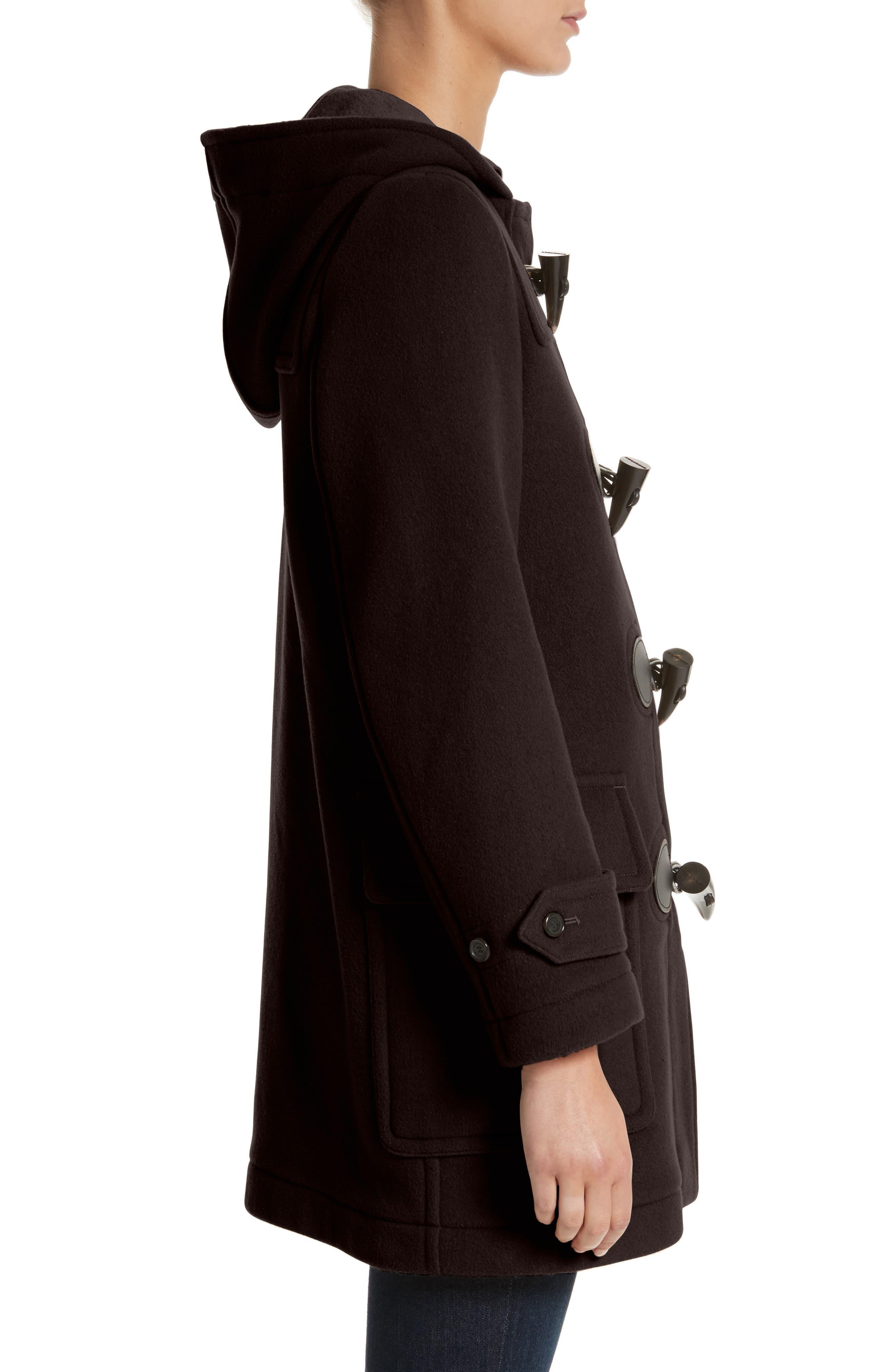Mersey Wool Blend Duffle Coat,                             Alternate thumbnail 3, color,                             001