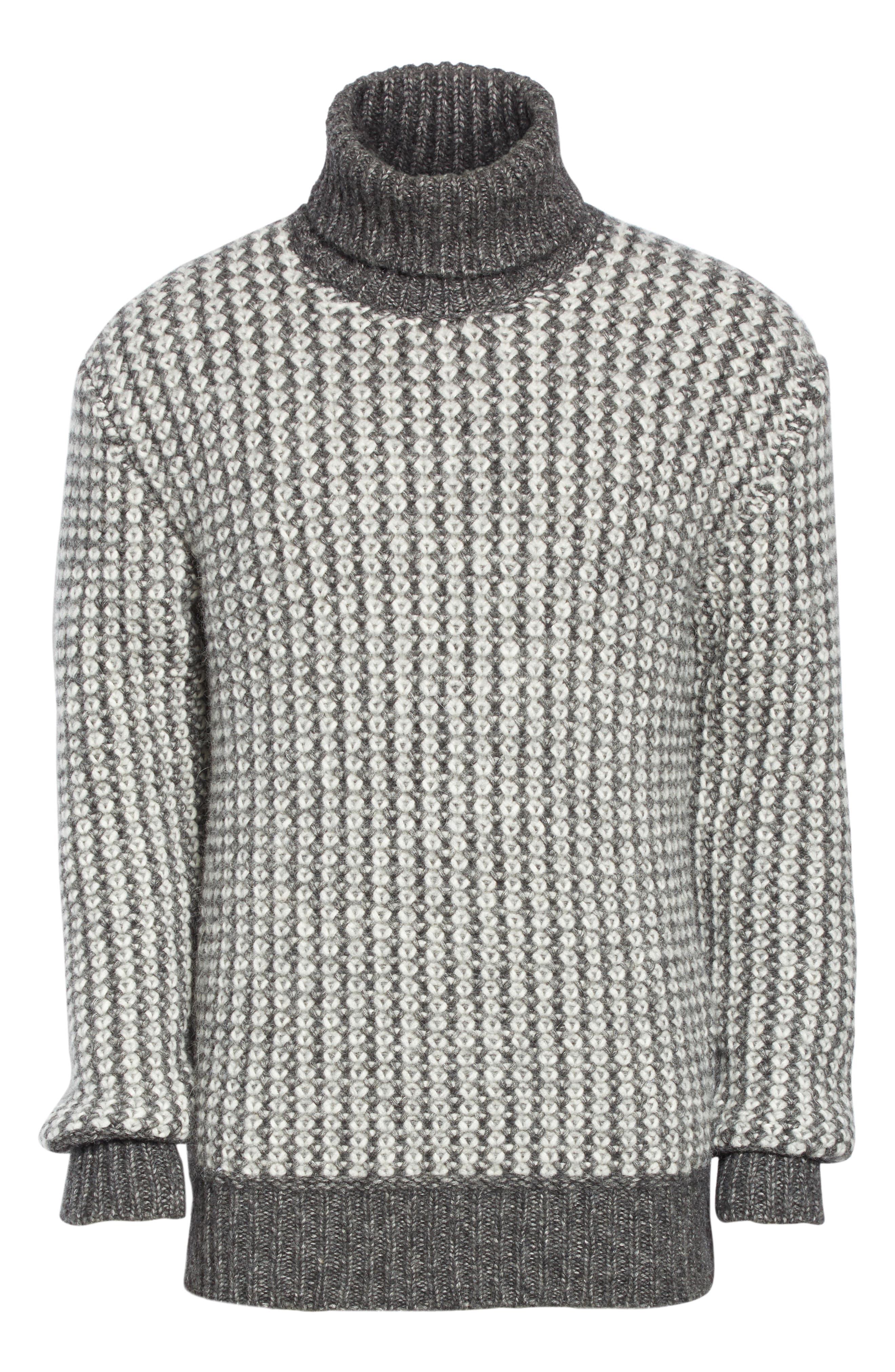 Cotton Blend Turtleneck Sweater,                             Alternate thumbnail 6, color,                             GREY