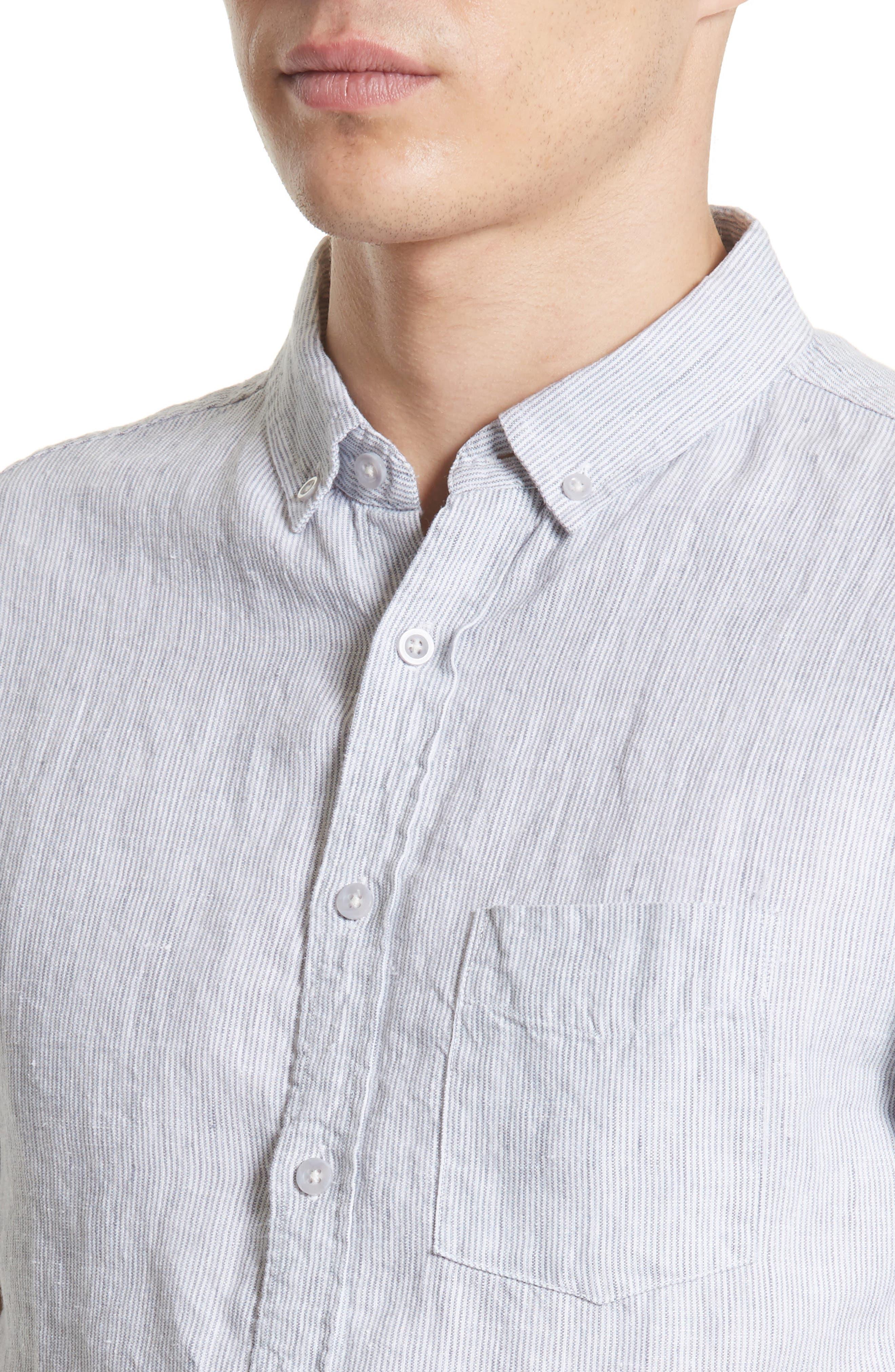 Trim Fit Microstripe Linen Shirt,                             Alternate thumbnail 5, color,                             100