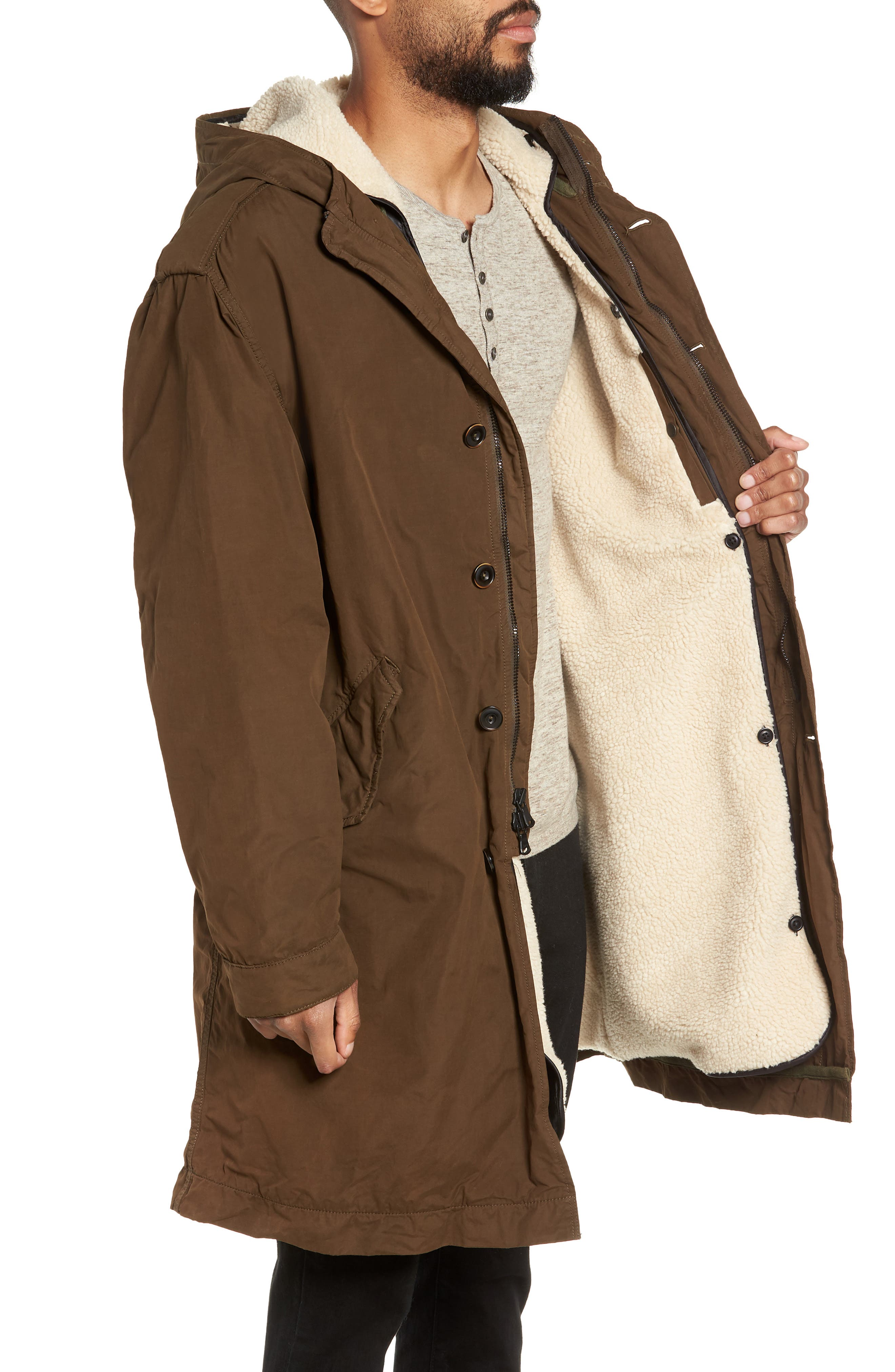 Removable Faux Shearling Anorak,                             Alternate thumbnail 3, color,                             UMBER