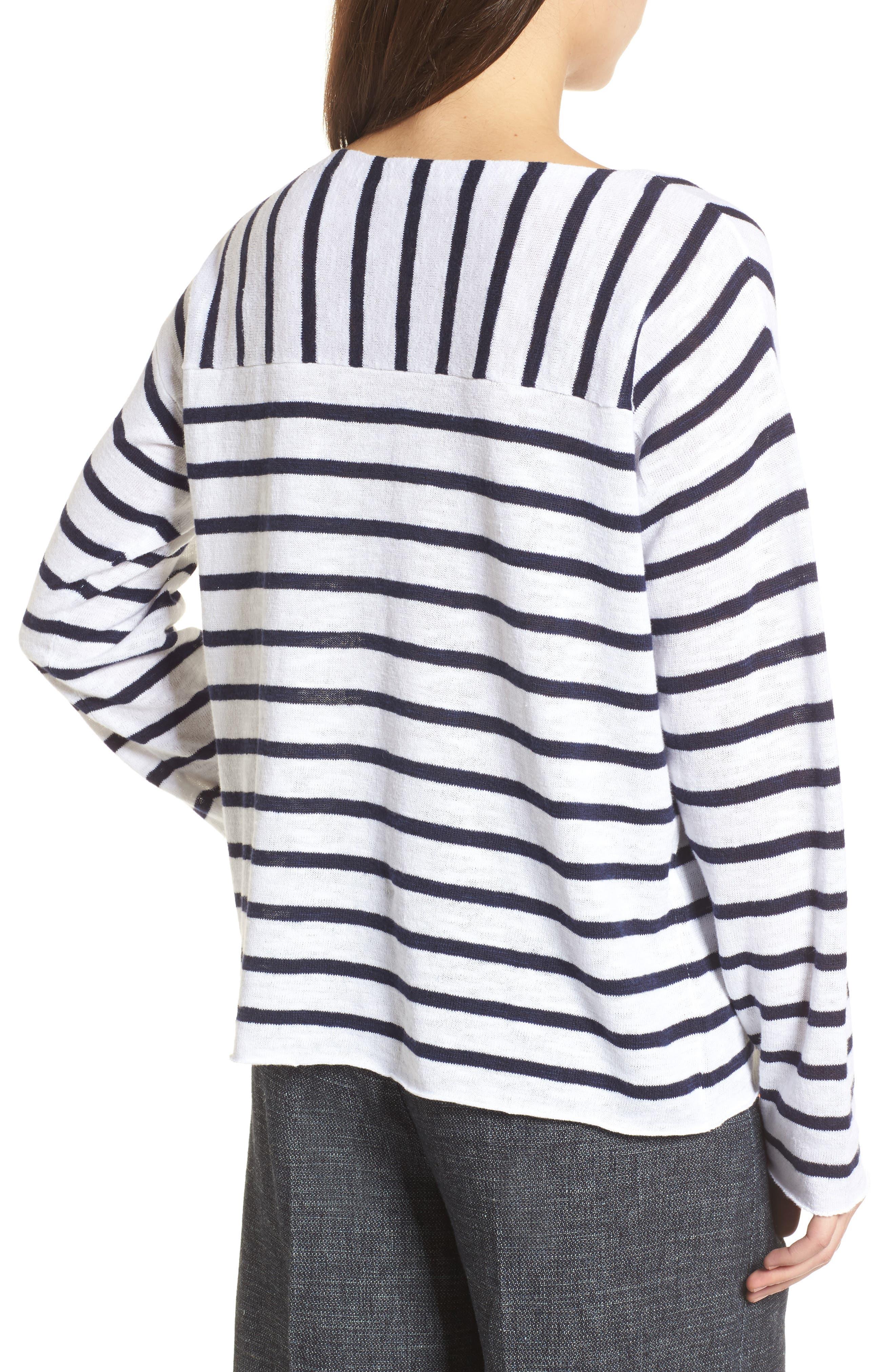 Stripe Organic Linen & Cotton Sweater,                             Alternate thumbnail 2, color,                             143