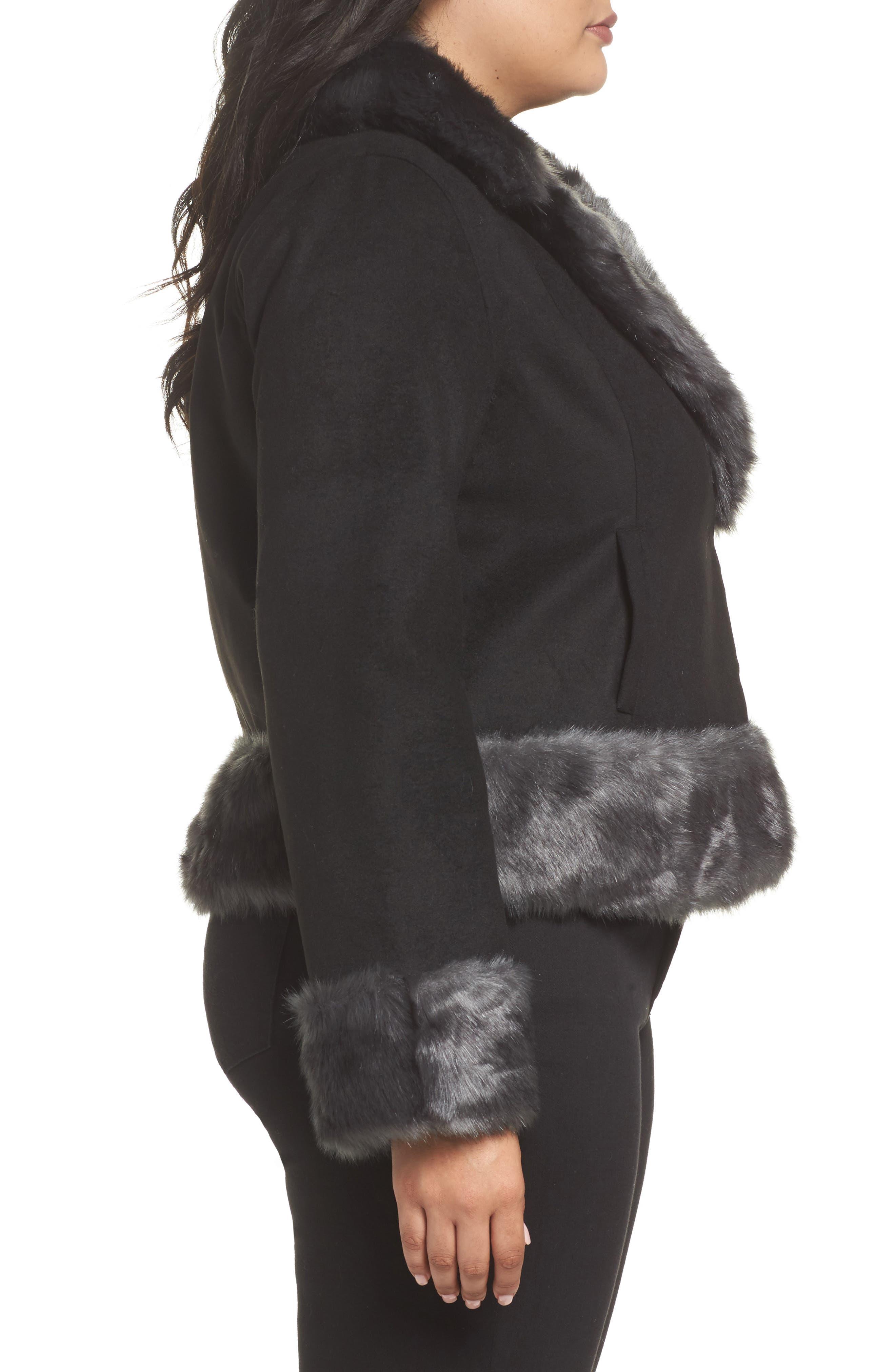 Jacket with Faux Fur Trim,                             Alternate thumbnail 3, color,                             001