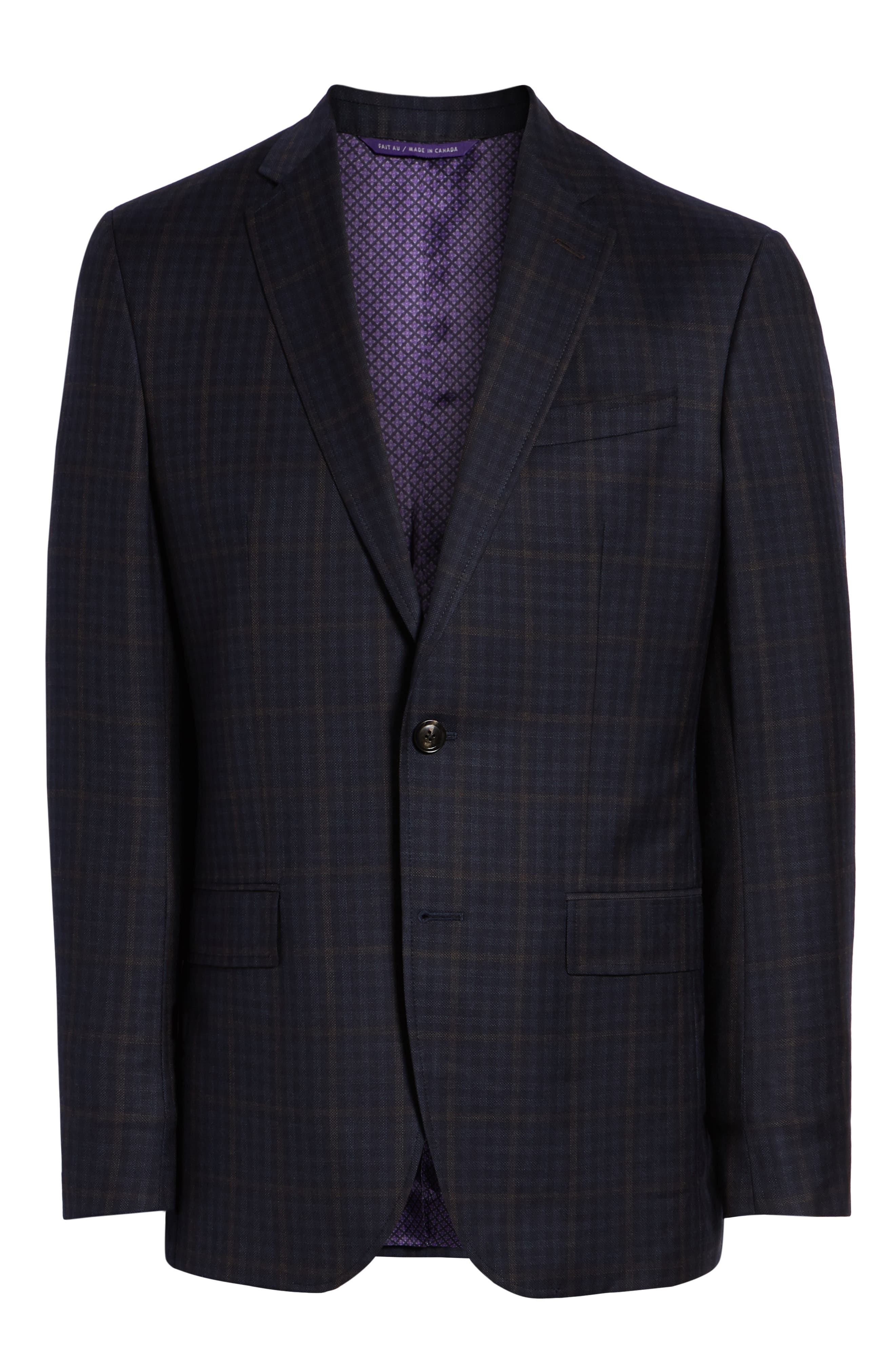 Jay Trim Fit Plaid Wool Sport Coat,                             Alternate thumbnail 5, color,                             NAVY
