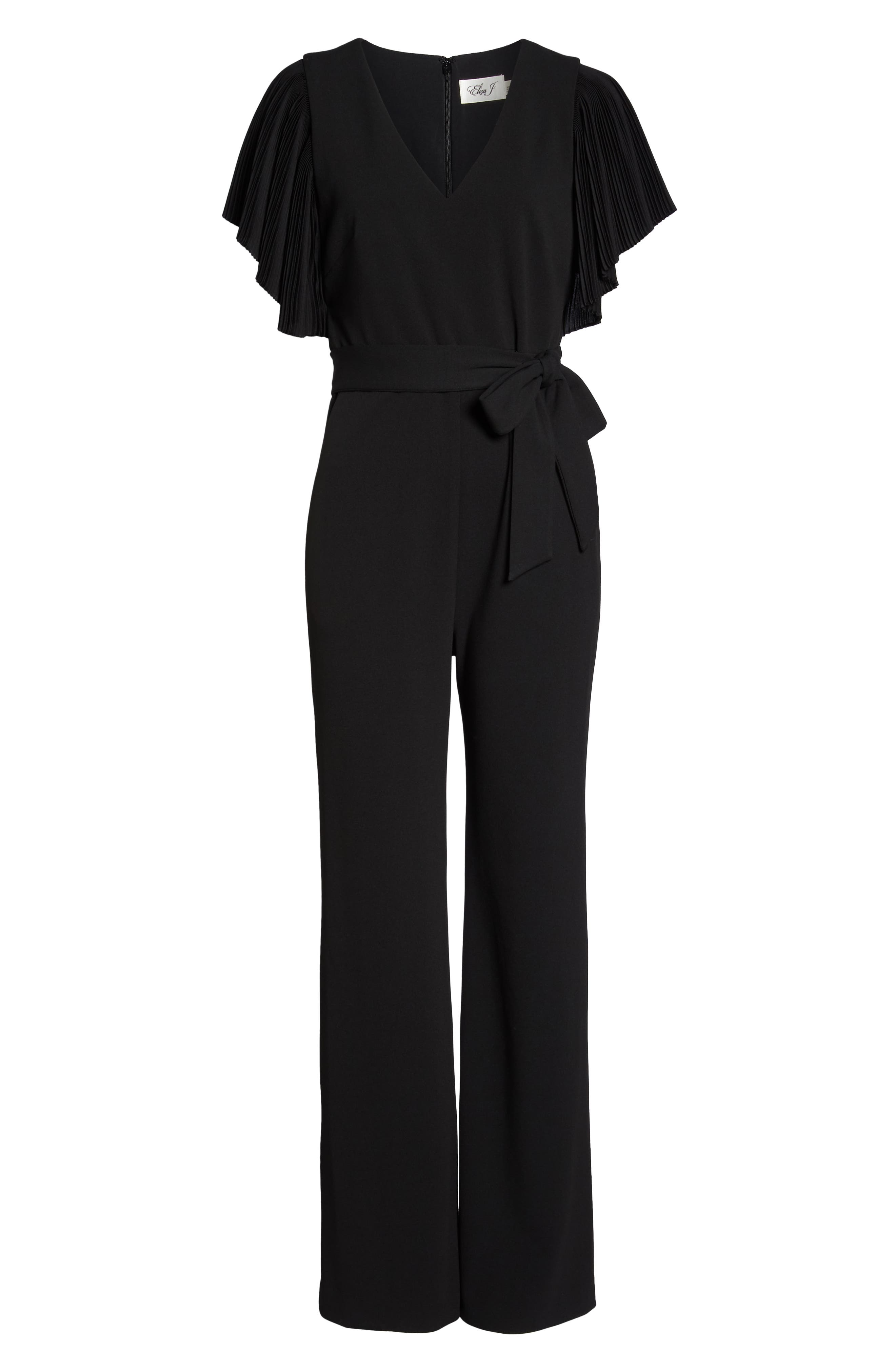 Pleat Sleeve Jumpsuit,                             Alternate thumbnail 7, color,                             BLACK