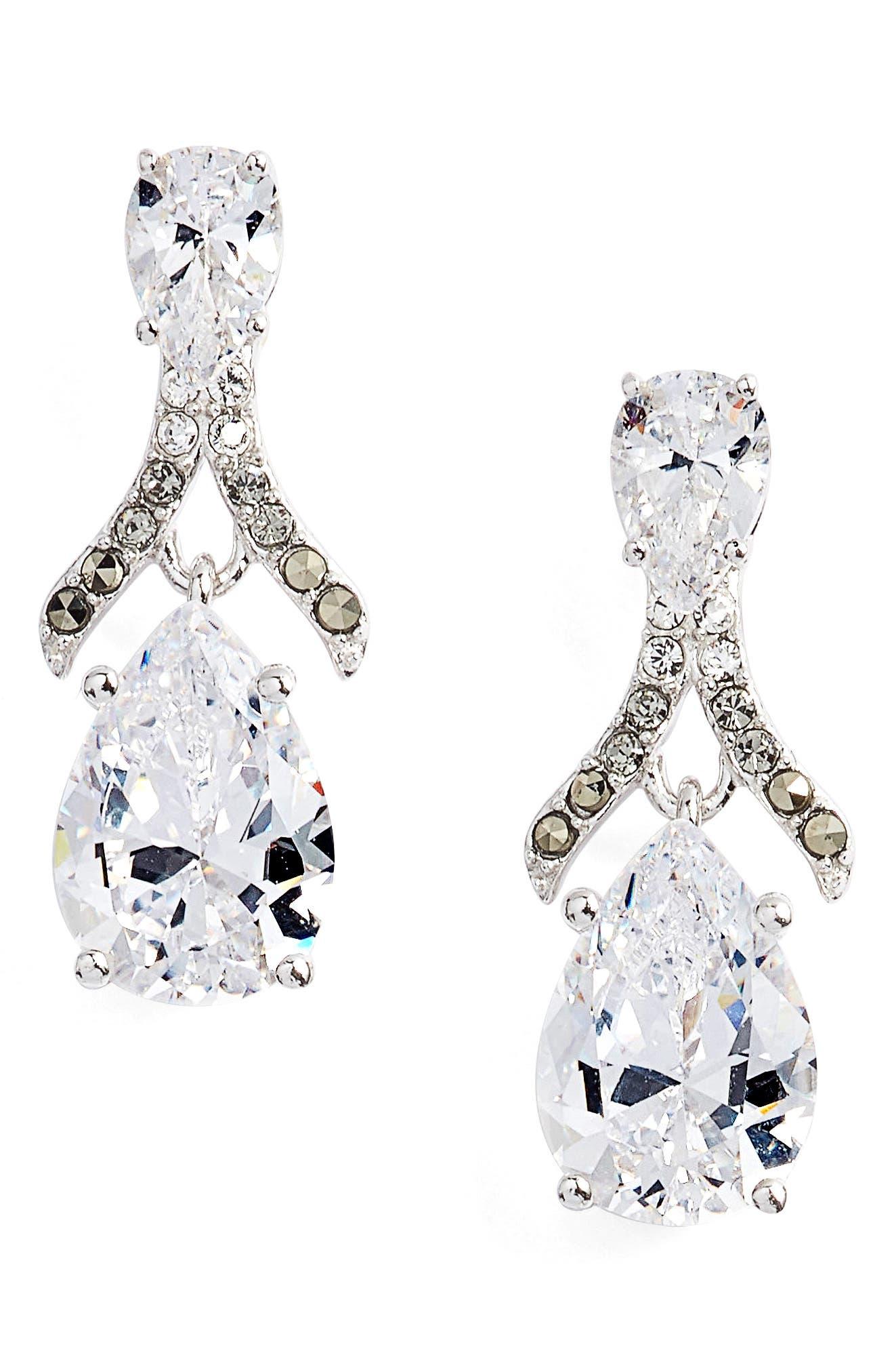 Cubic Zirconia Drop Earrings,                             Main thumbnail 1, color,