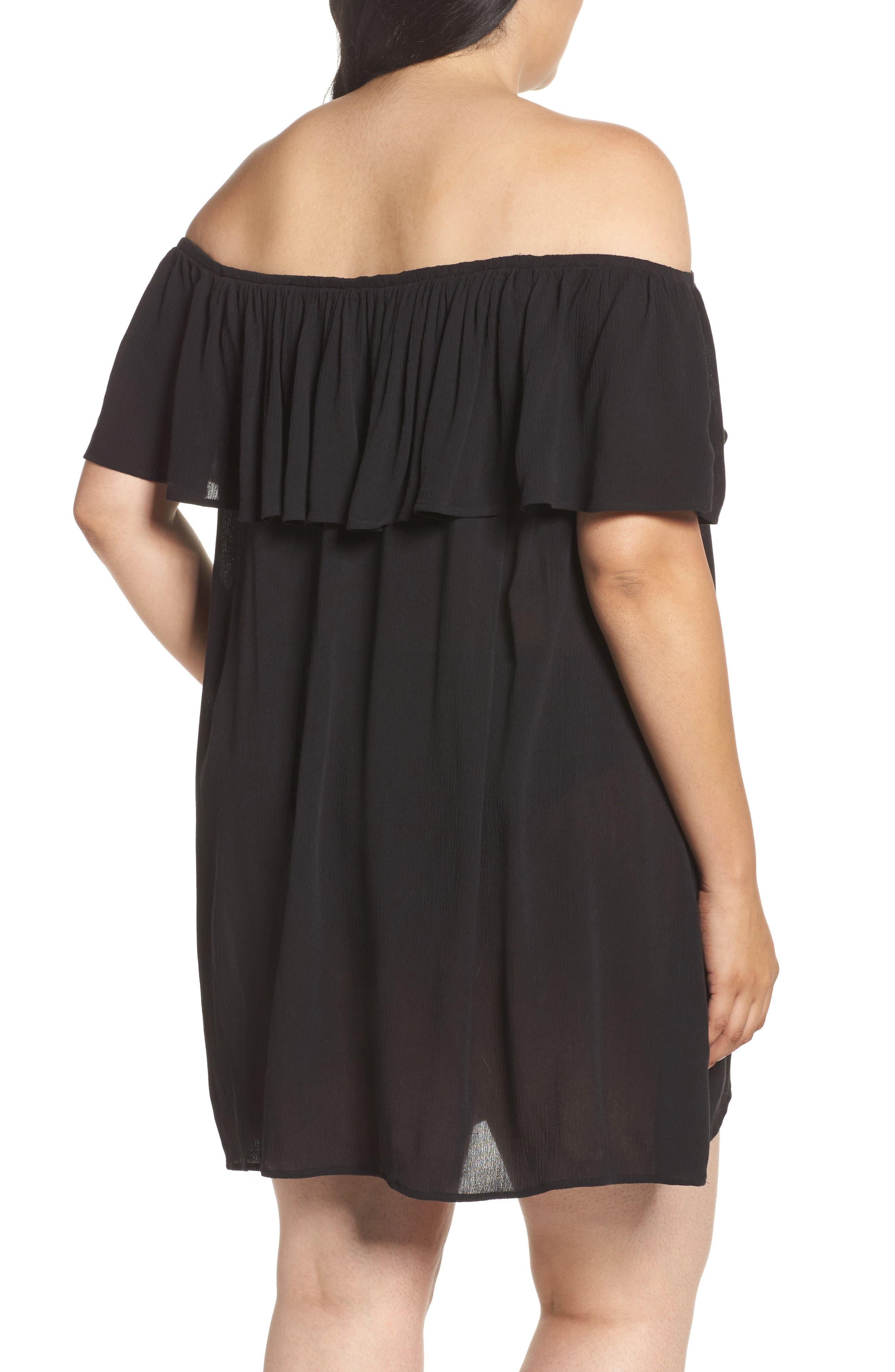 Southern Belle Off the Shoulder Cover-Up Dress,                             Alternate thumbnail 2, color,                             001