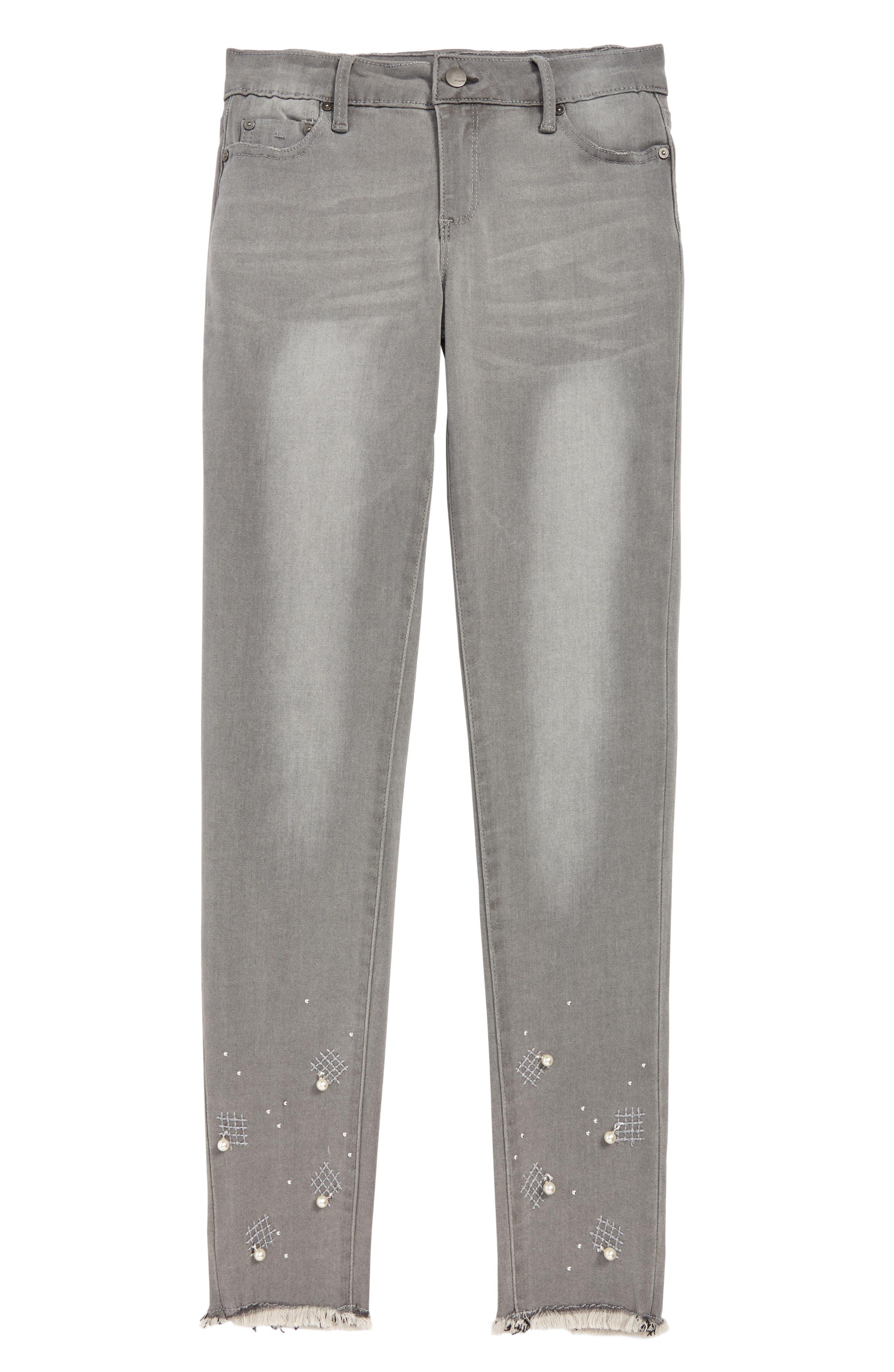 Embellished Crop Jeans,                         Main,                         color, GREY