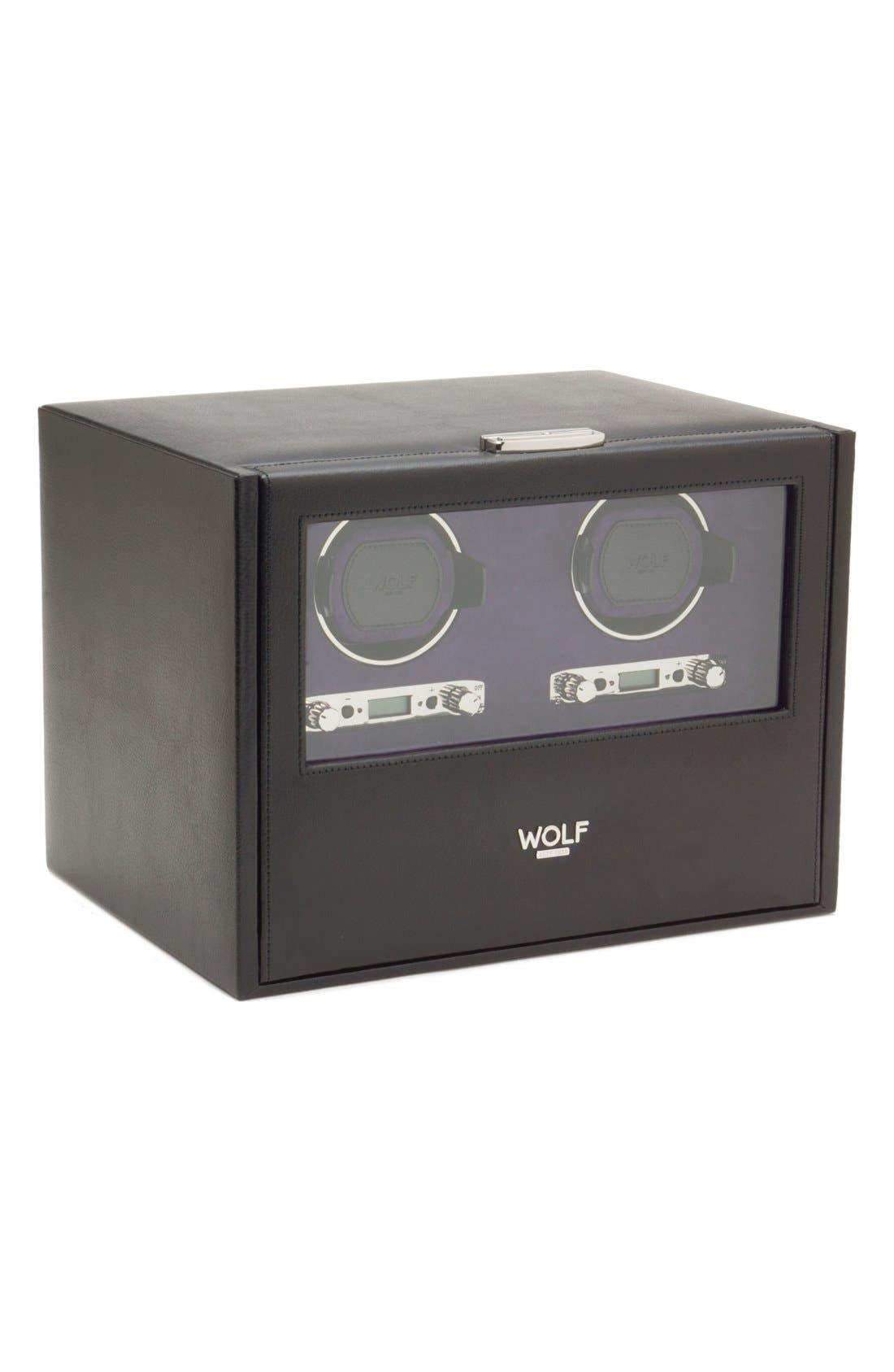 Blake Double Watch Winder & Case,                         Main,                         color, BLACK PEBBLE