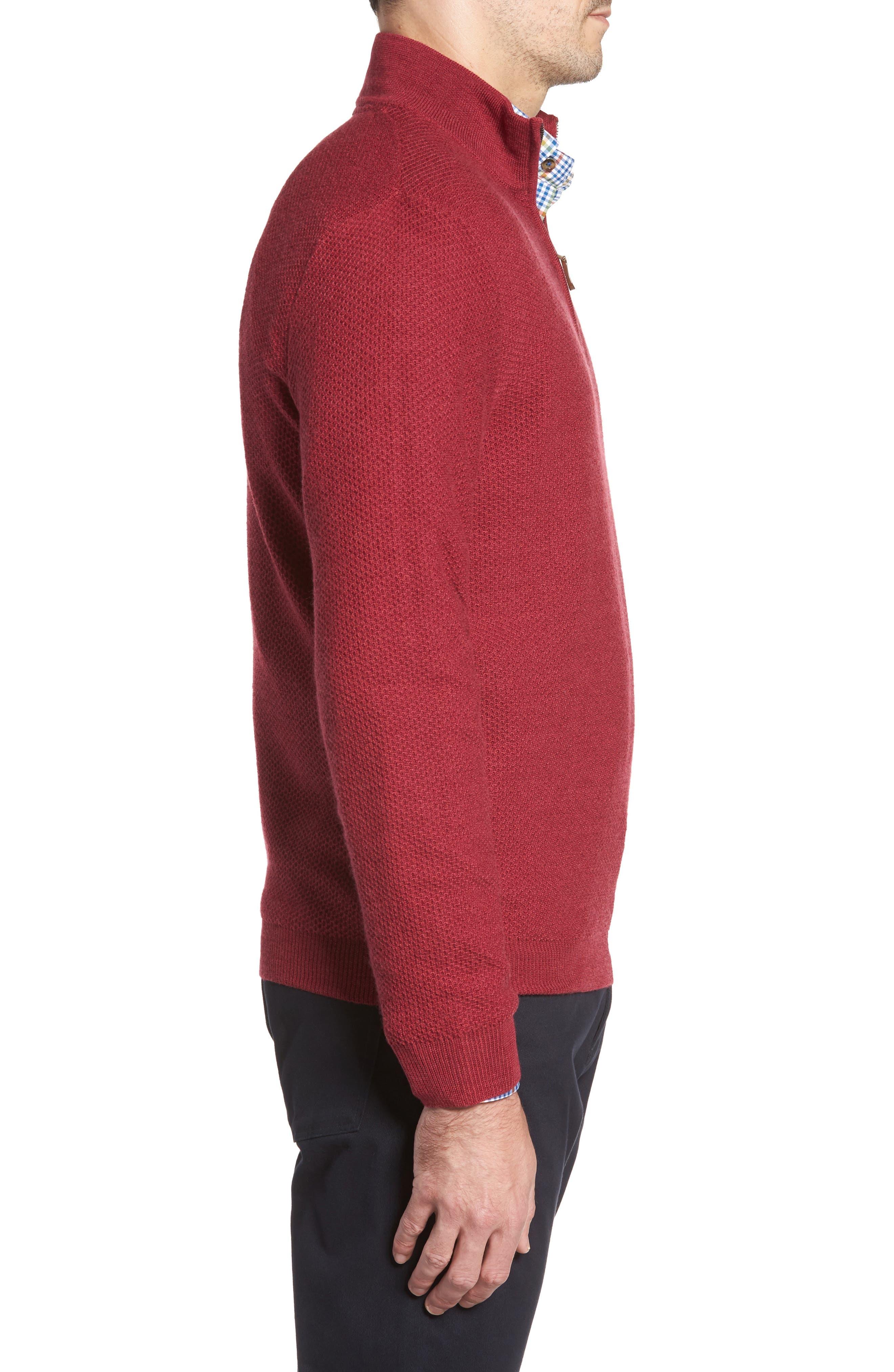 Honeycomb Merino Wool Quarter Zip Pullover,                             Alternate thumbnail 9, color,