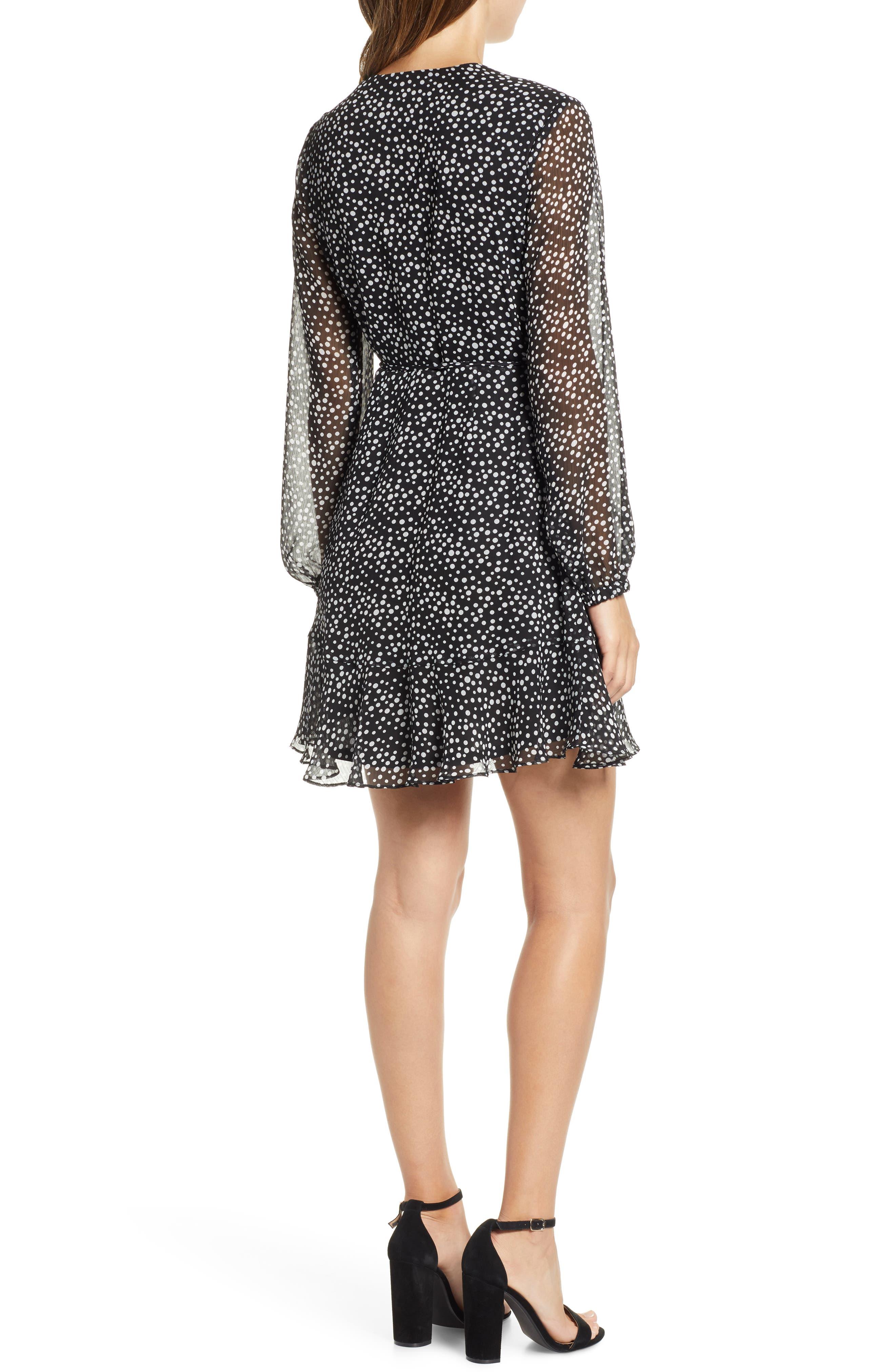 Brittany Wrap Minidress,                             Alternate thumbnail 2, color,                             BLACK WHITE DOT