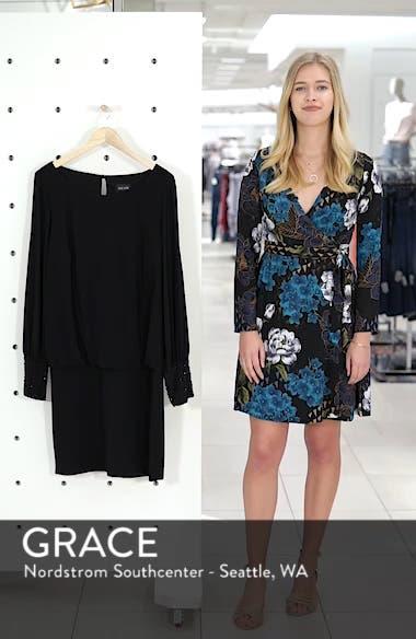 Embellished Cuff Blouson Jersey Dress, sales video thumbnail