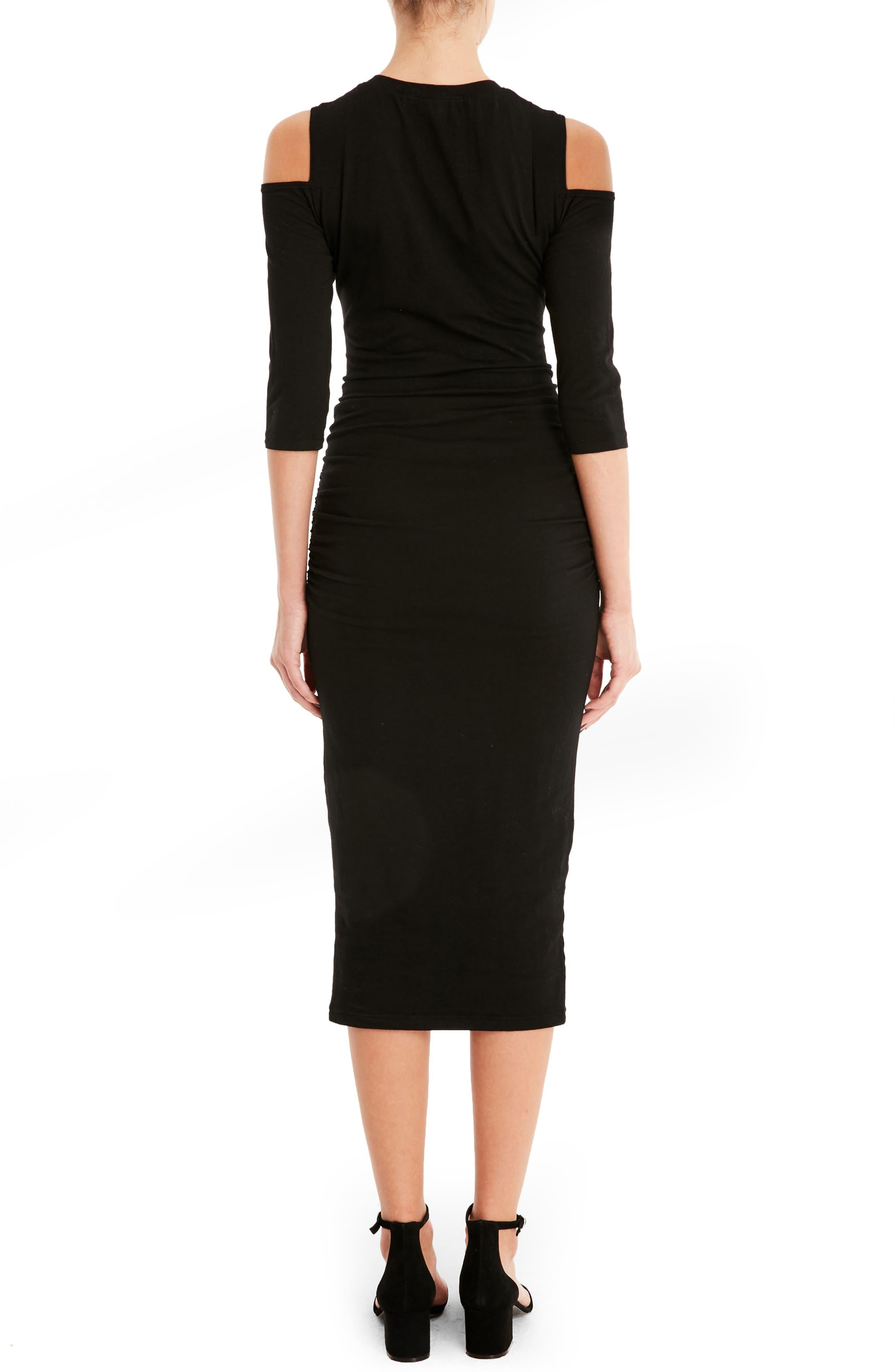 Cold Shoulder Midi Dress,                             Alternate thumbnail 2, color,                             001
