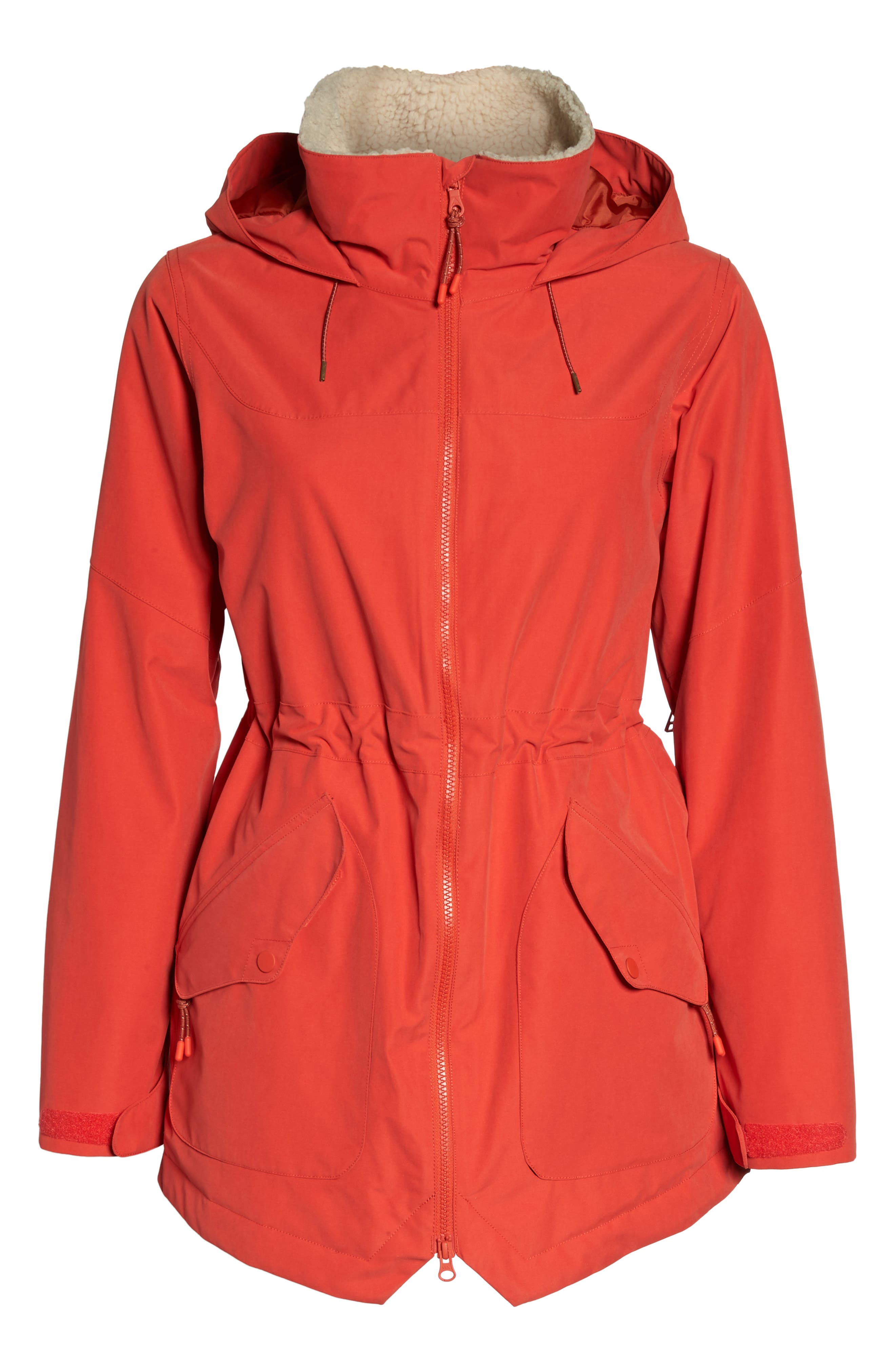 Prowess Fleece Lined Water Resistant Jacket,                             Alternate thumbnail 6, color,                             FIERY RED SUEDED
