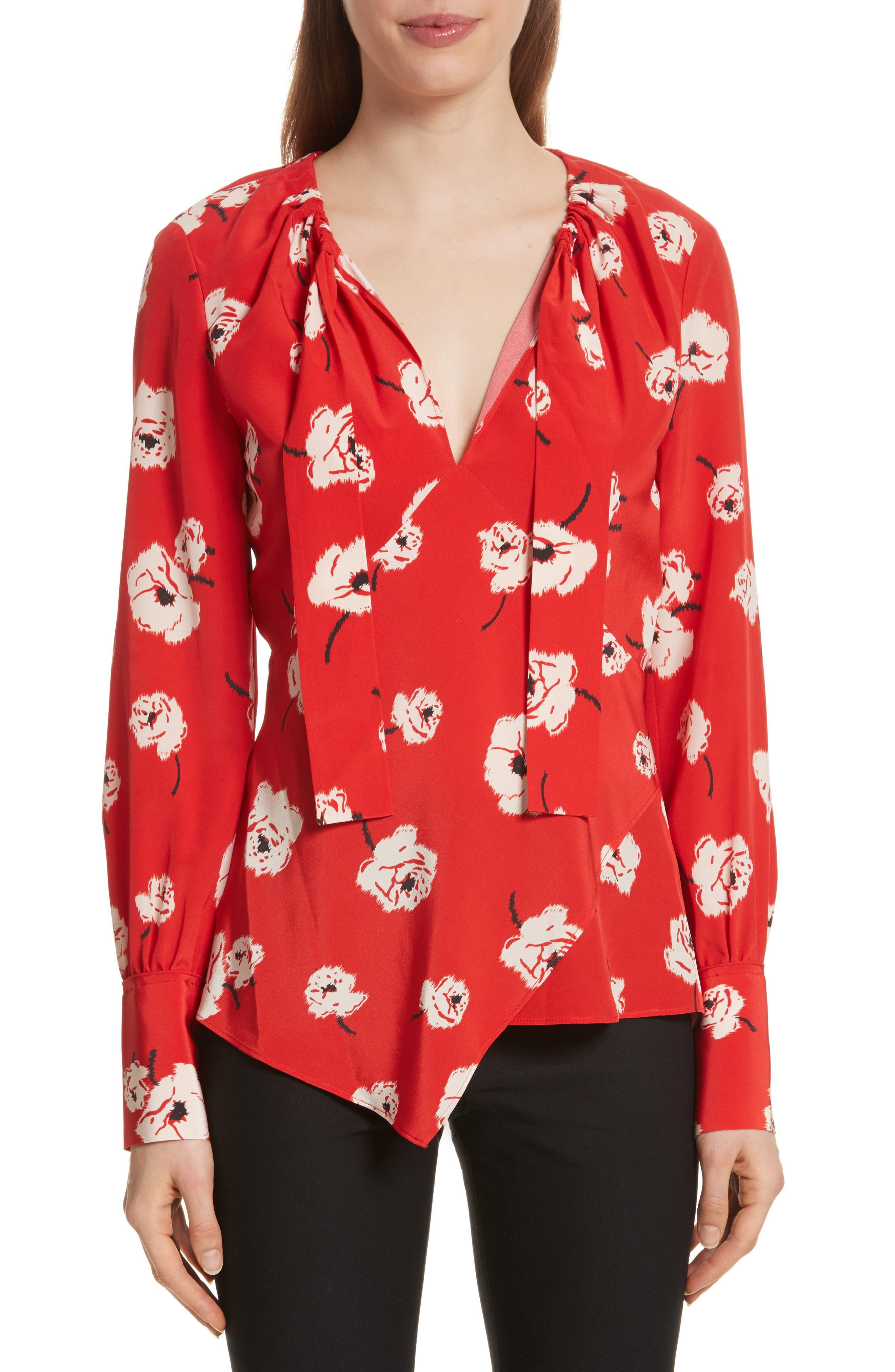 Asymmetrical Floral Silk Blouse,                             Main thumbnail 1, color,                             623